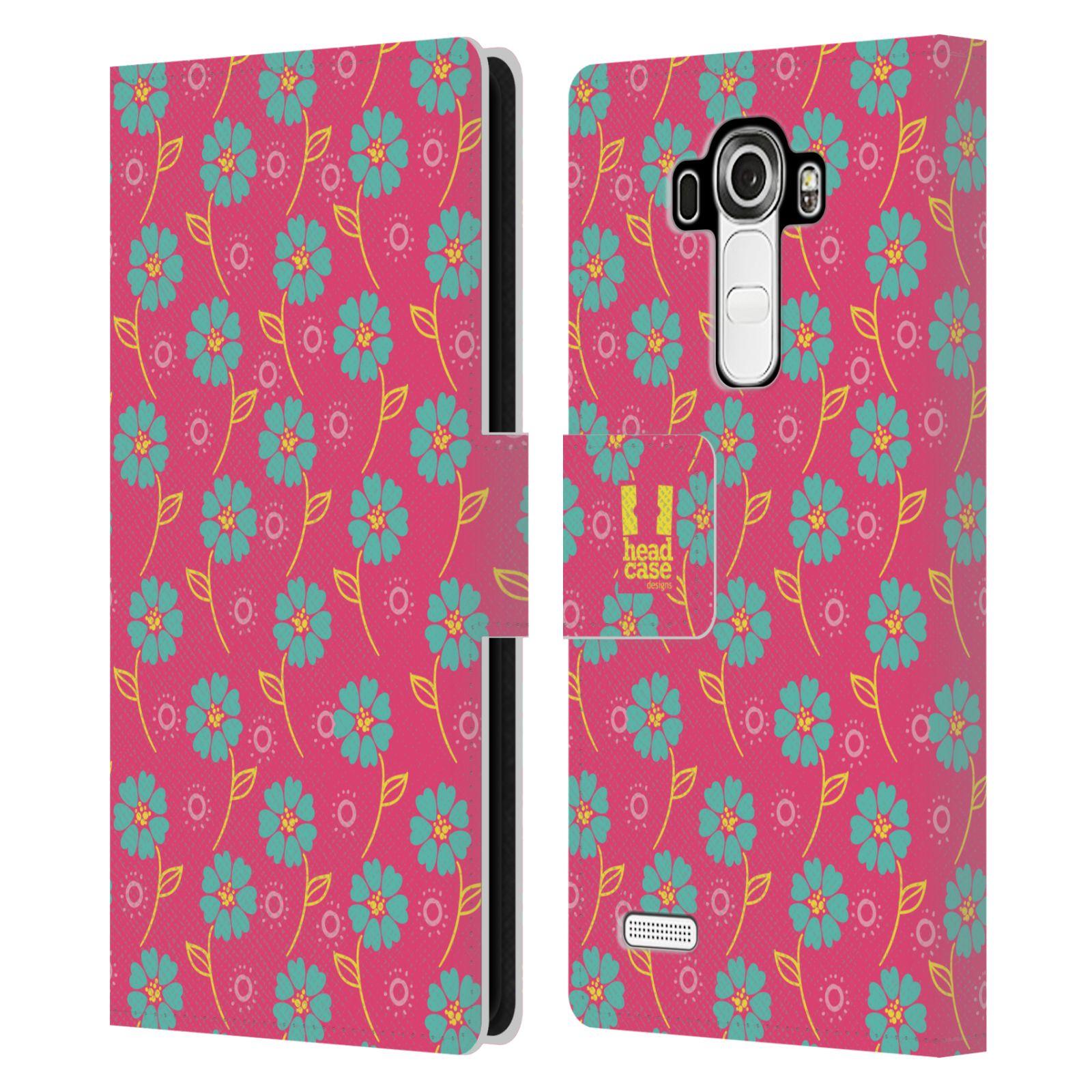 HEAD CASE Flipové pouzdro pro mobil LG G4 (H815) Slovanský vzor růžová a modrá květiny