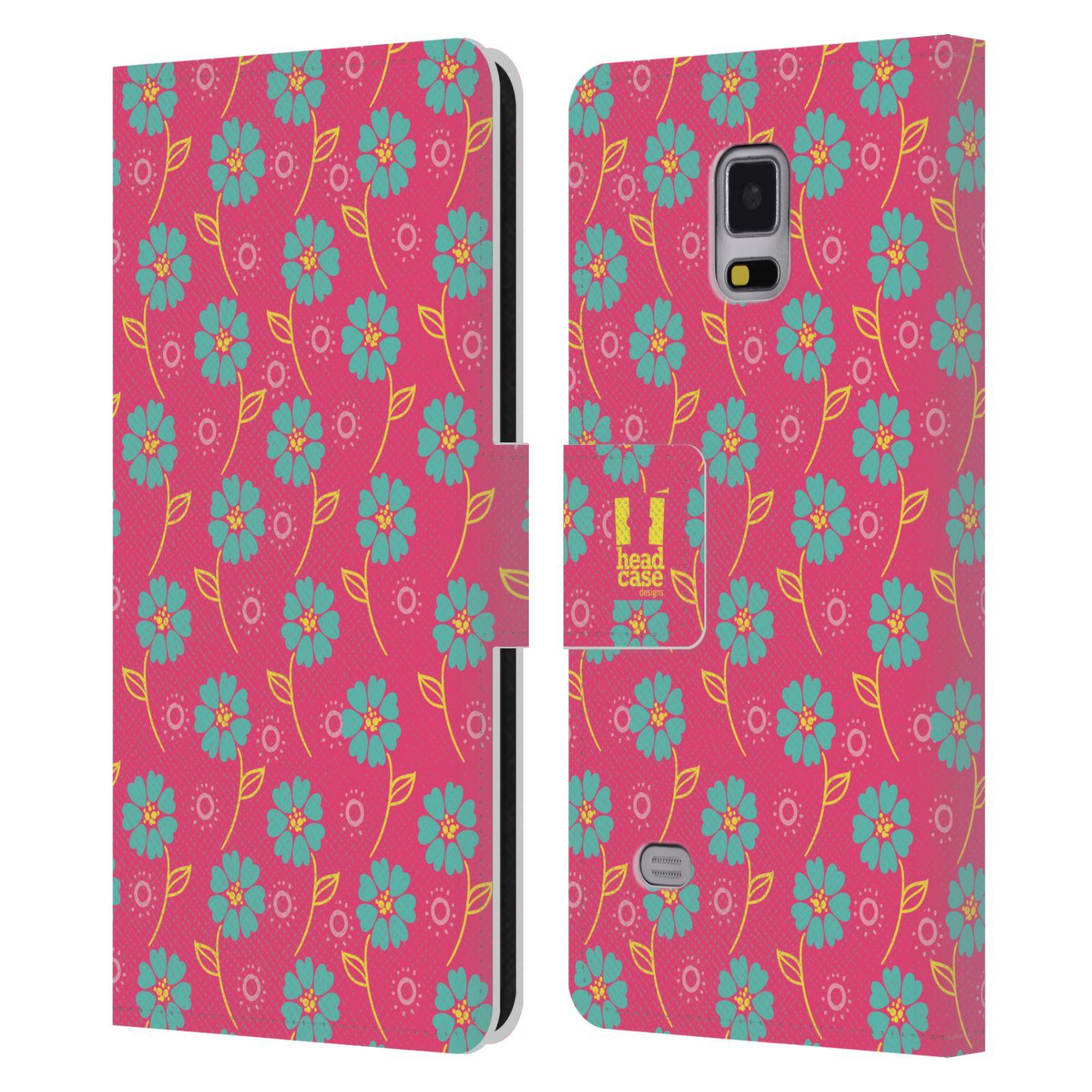 HEAD CASE Flipové pouzdro pro mobil Samsung Galaxy Note 4 Slovanský vzor růžová a modrá květiny