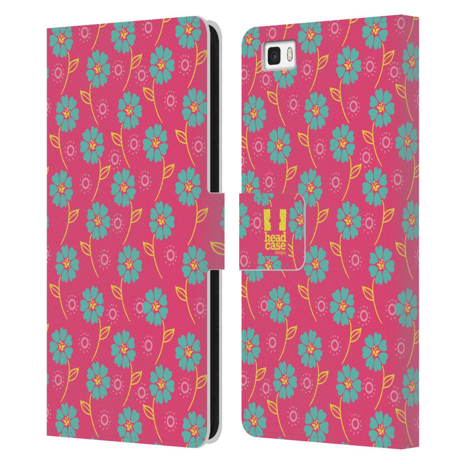 HEAD CASE Flipové pouzdro pro mobil Huawei P8 LITE Slovanský vzor růžová a modrá květiny