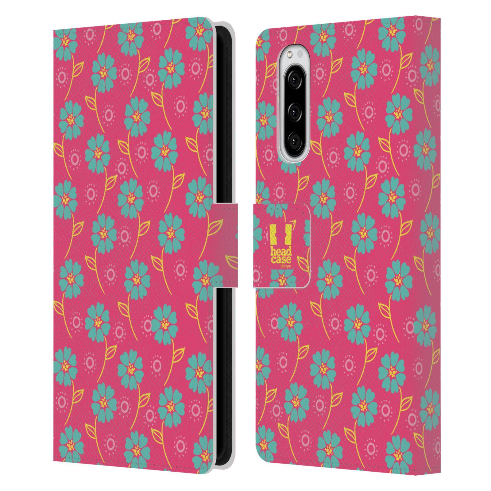 Pouzdro na mobil Sony Xperia 5 Slovanský vzor růžová a modrá květiny