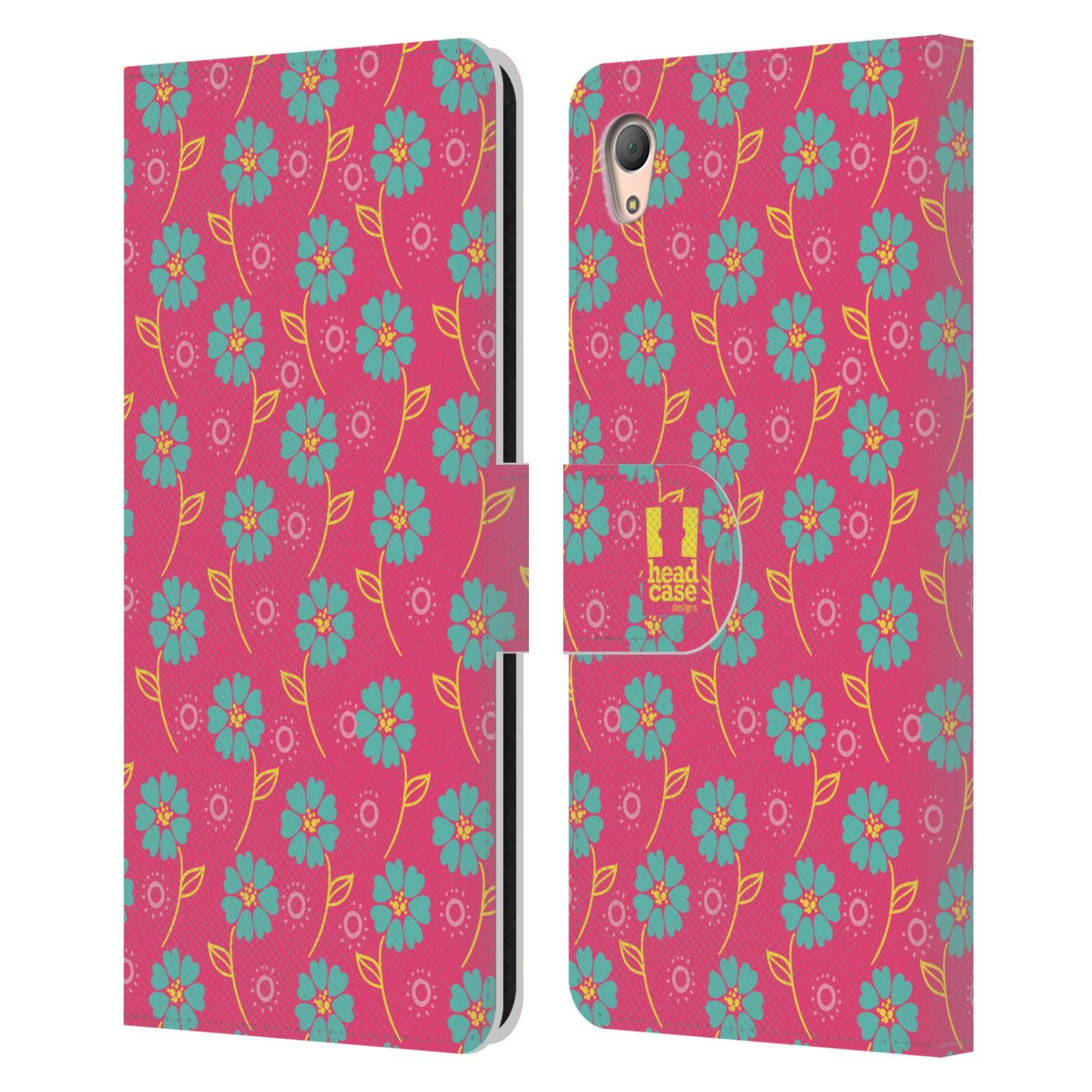 HEAD CASE Flipové pouzdro pro mobil SONY XPERIA Z3+ (PLUS) Slovanský vzor růžová a modrá květiny