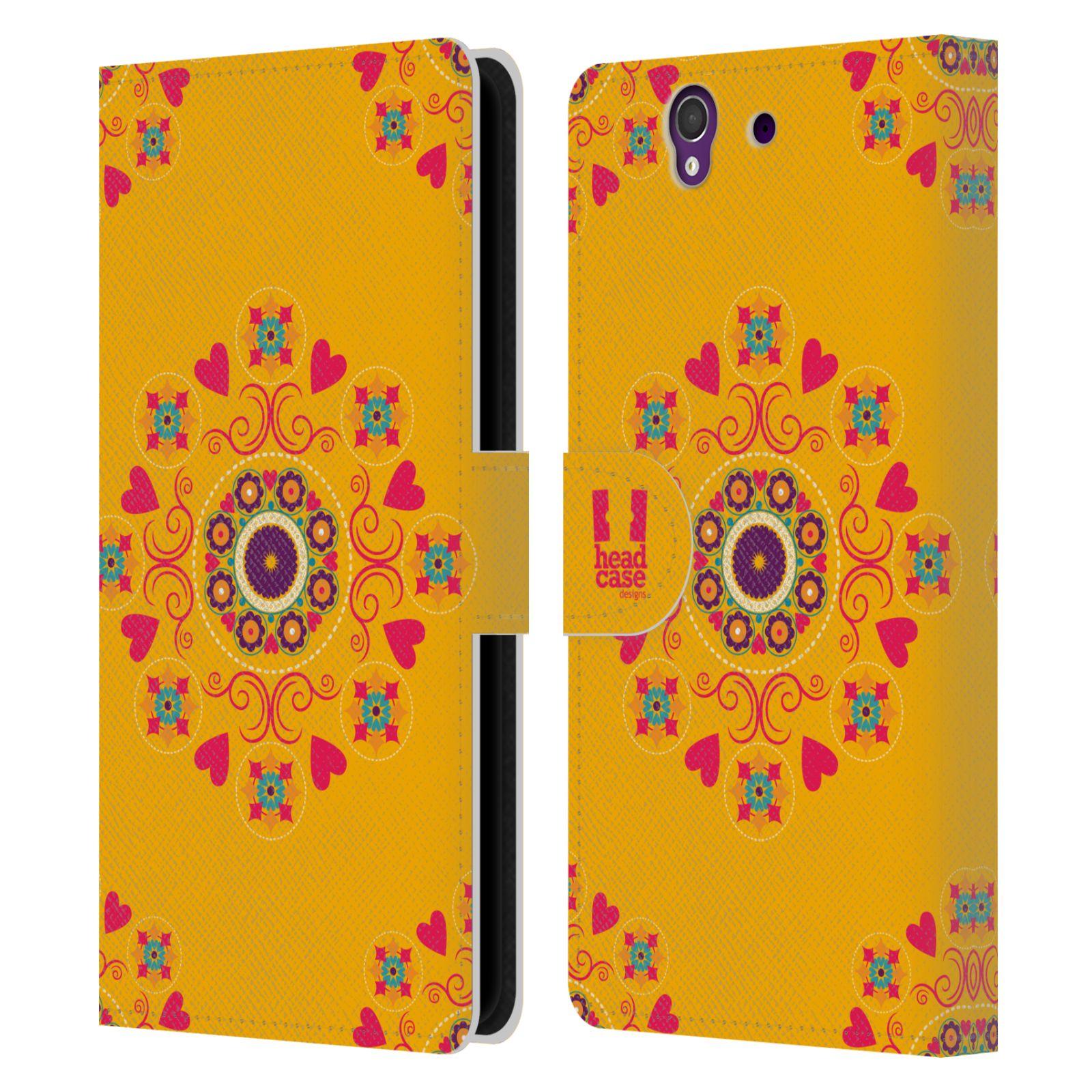HEAD CASE Flipové pouzdro pro mobil SONY XPERIA Z (C6603) Slovanský vzor květiny a srdíčka žlutá