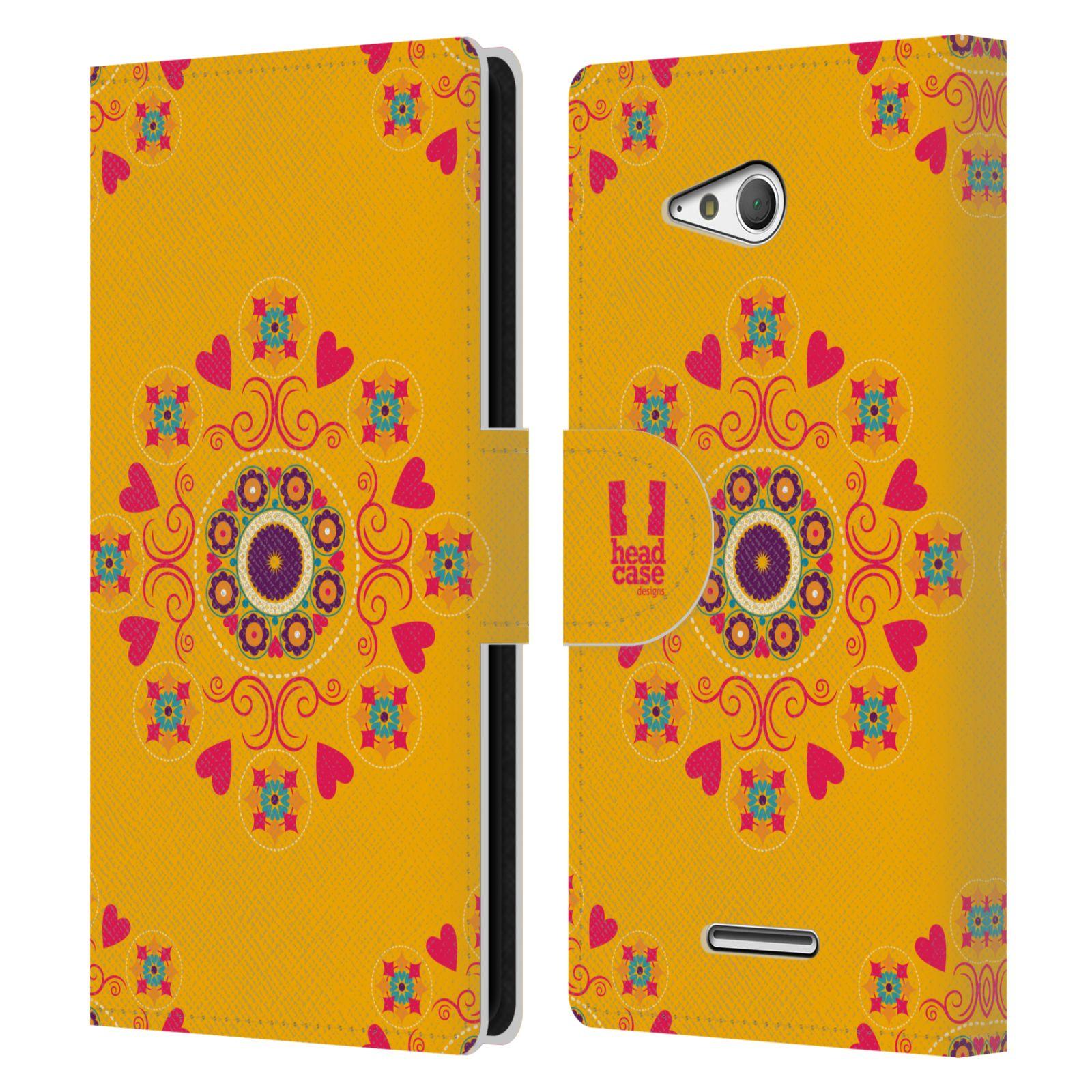 HEAD CASE Flipové pouzdro pro mobil SONY XPERIA E4g Slovanský vzor květiny a srdíčka žlutá