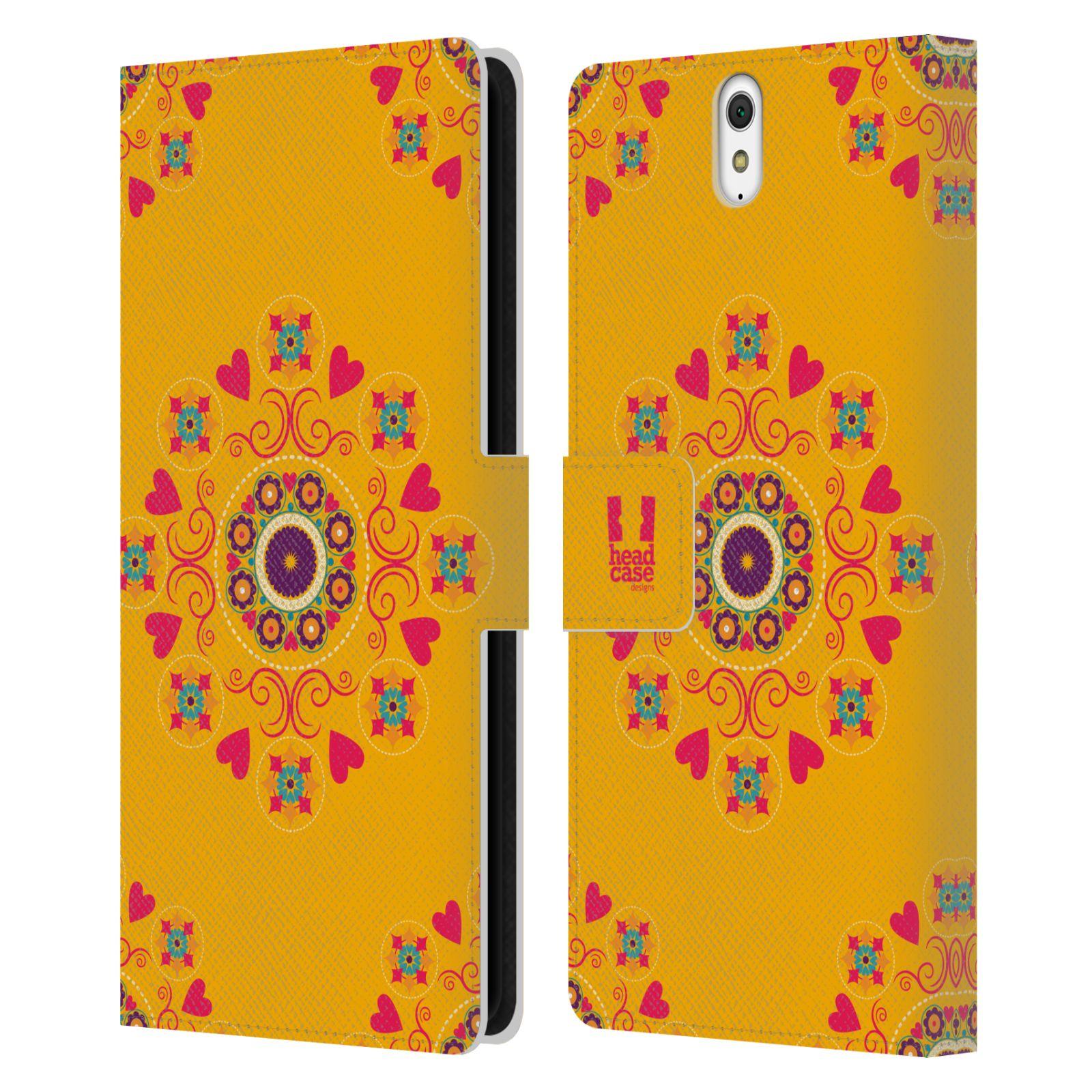 HEAD CASE Flipové pouzdro pro mobil SONY XPERIA C5 Ultra Slovanský vzor květiny a srdíčka žlutá
