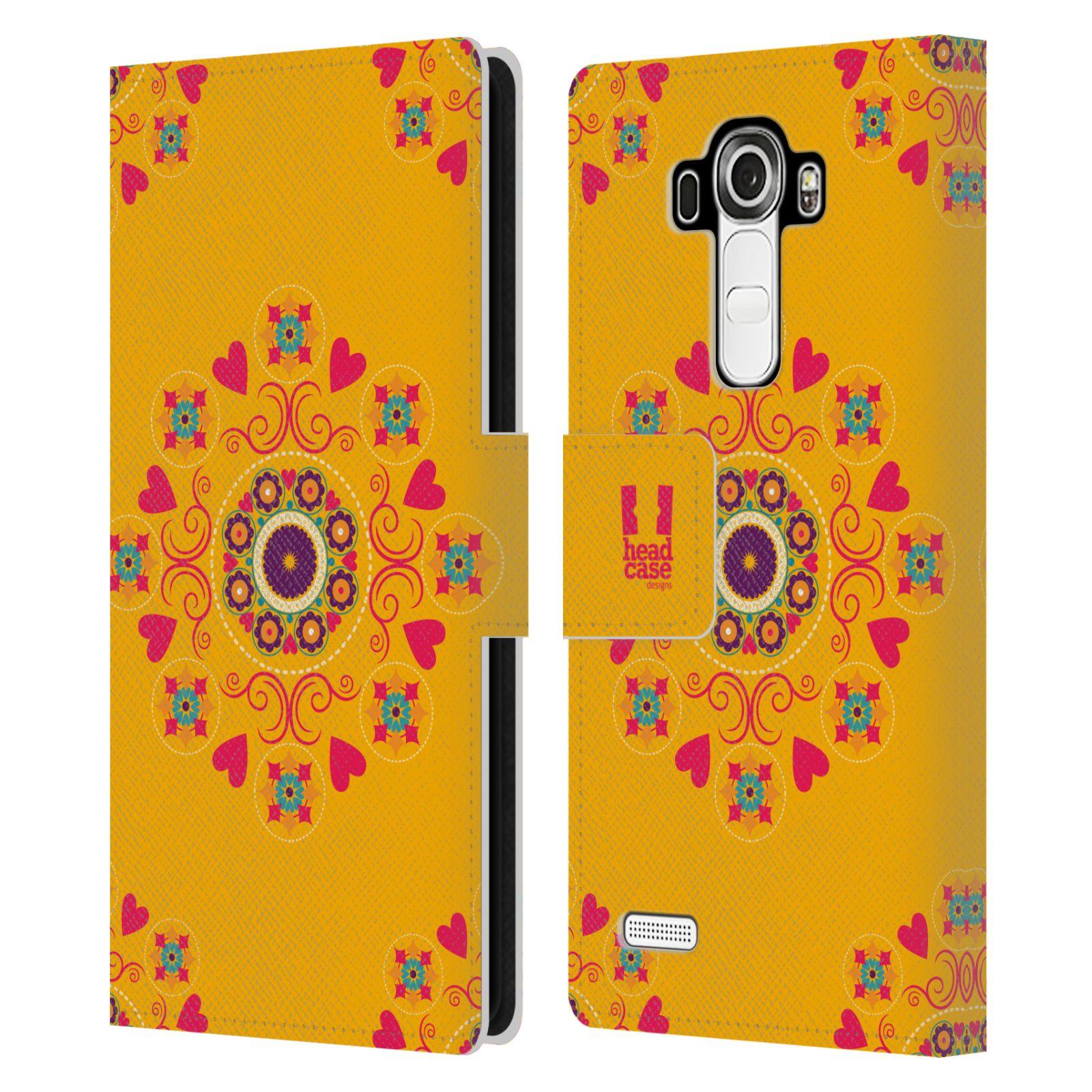 HEAD CASE Flipové pouzdro pro mobil LG G4 (H815) Slovanský vzor květiny a srdíčka žlutá