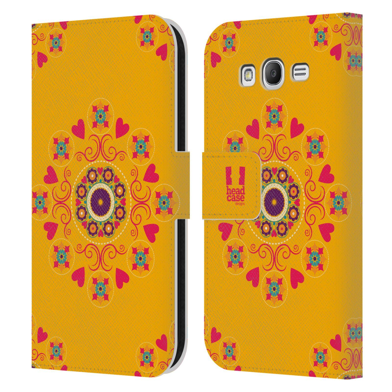 HEAD CASE Flipové pouzdro pro mobil Samsung Galaxy Grand i9080 Slovanský vzor květiny a srdíčka žlutá