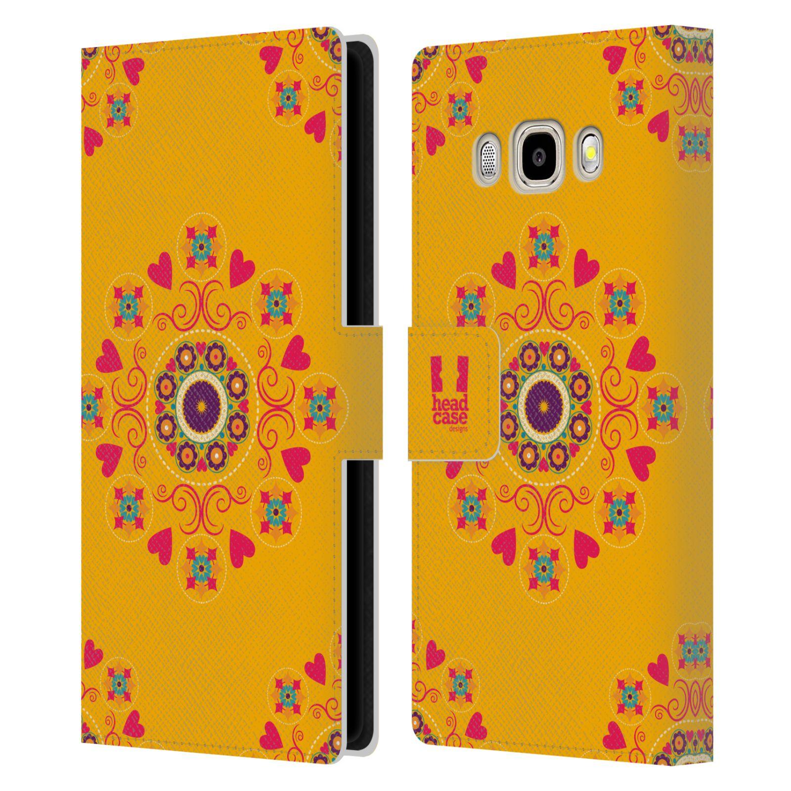 HEAD CASE Flipové pouzdro pro mobil Samsung Galaxy J5 2016 Slovanský vzor květiny a srdíčka žlutá