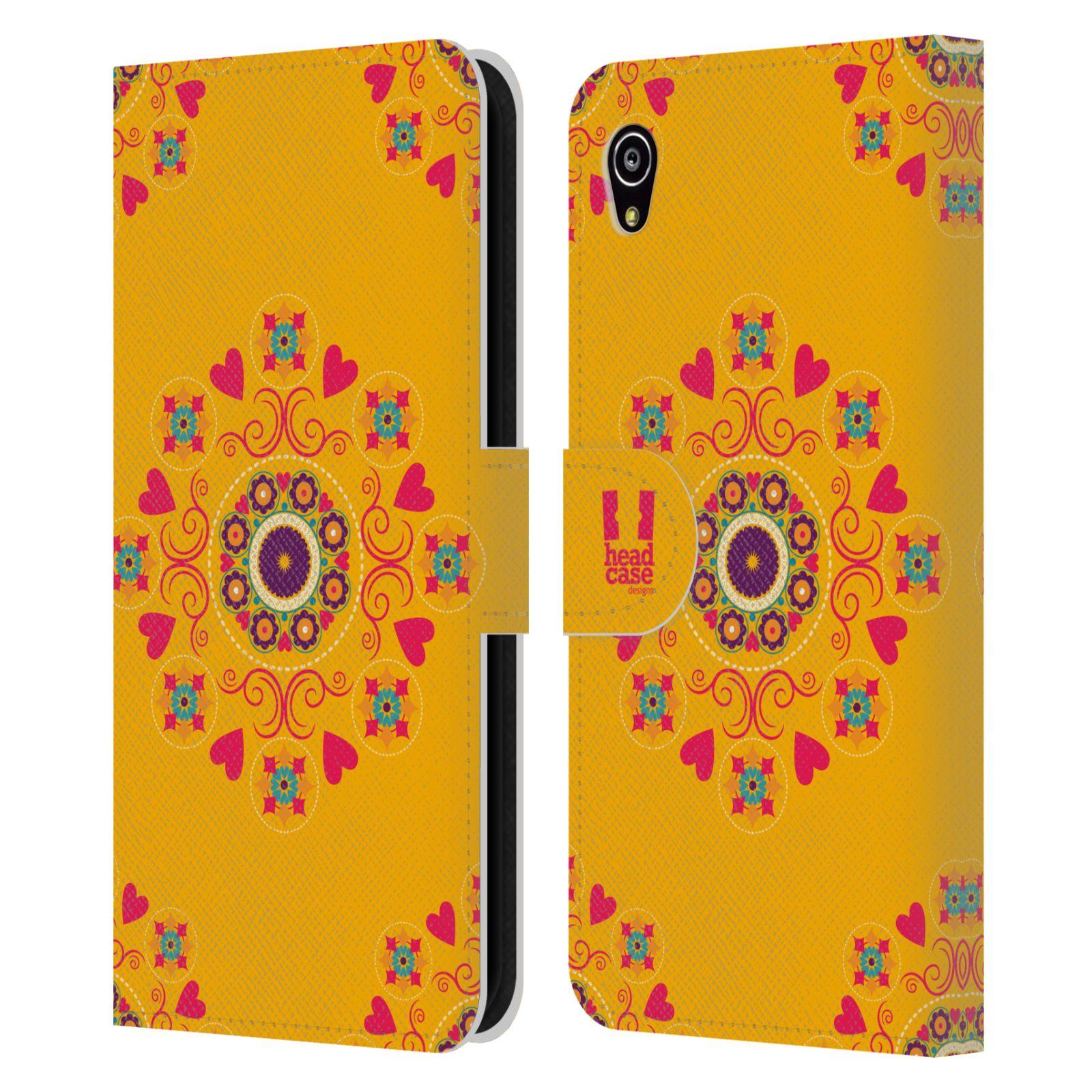 HEAD CASE Flipové pouzdro pro mobil SONY XPERIA M4 AQUA Slovanský vzor květiny a srdíčka žlutá