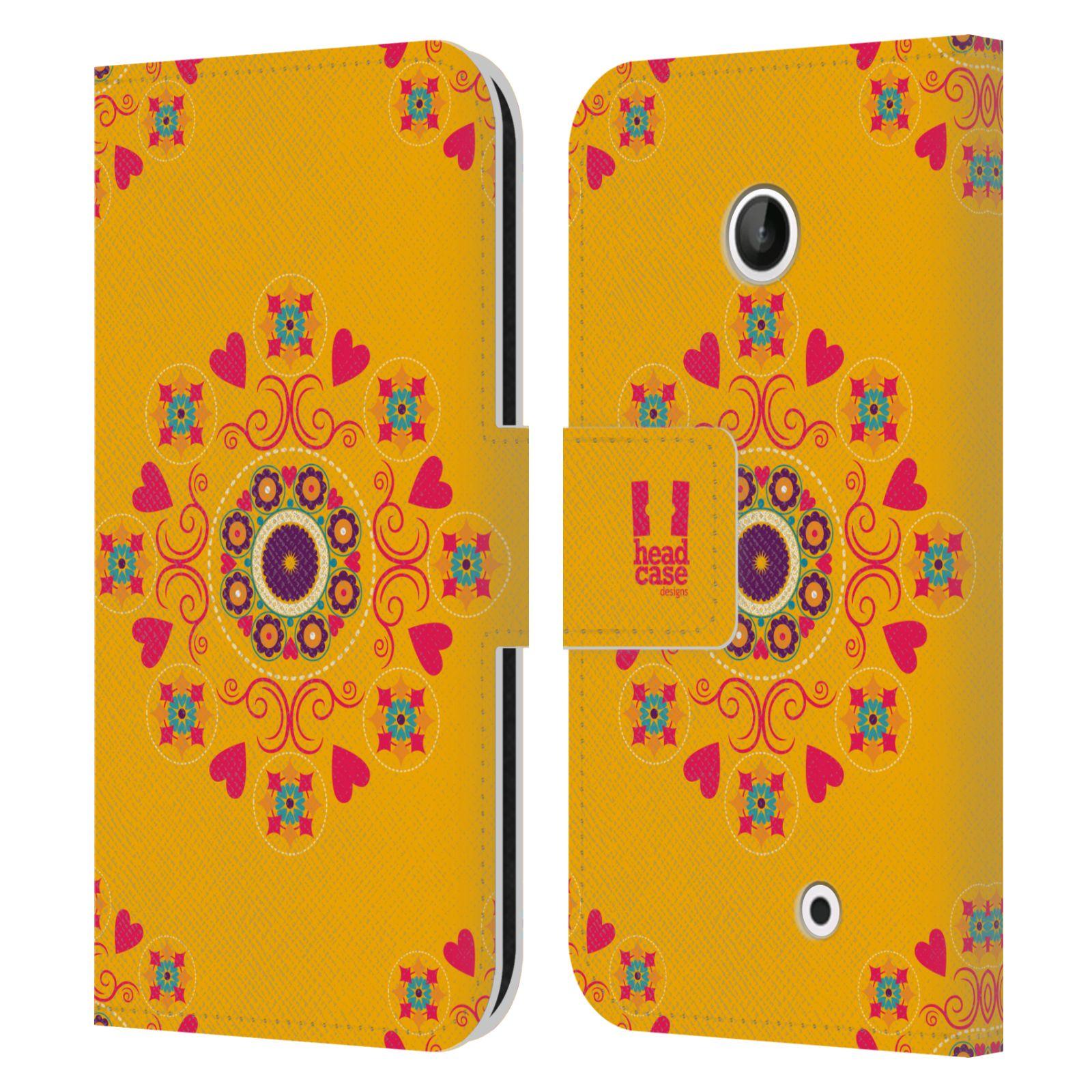 HEAD CASE Flipové pouzdro pro mobil NOKIA LUMIA 630 / LUMIA 630 DUAL Slovanský vzor květiny a srdíčka žlutá