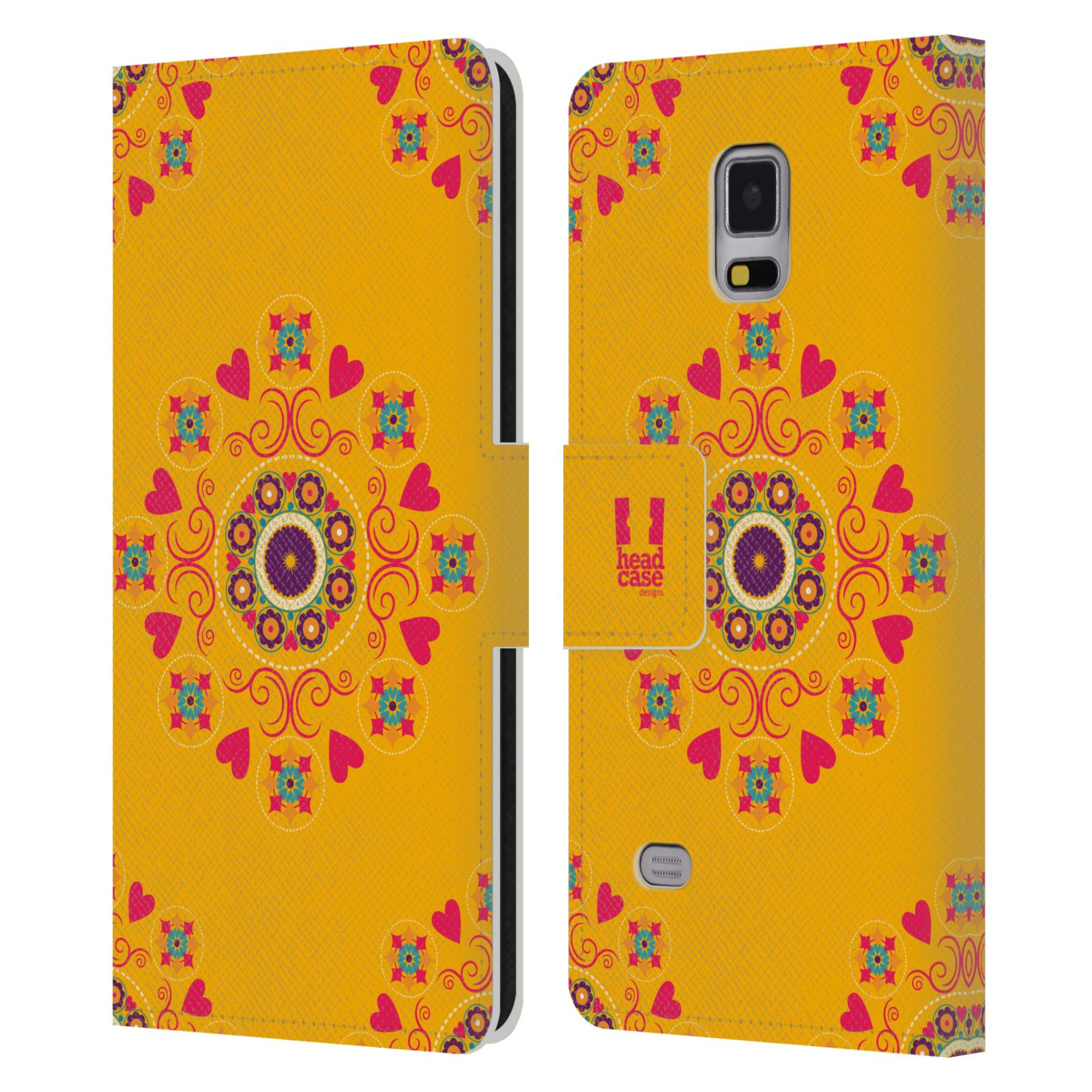 HEAD CASE Flipové pouzdro pro mobil Samsung Galaxy Note 4 Slovanský vzor květiny a srdíčka žlutá