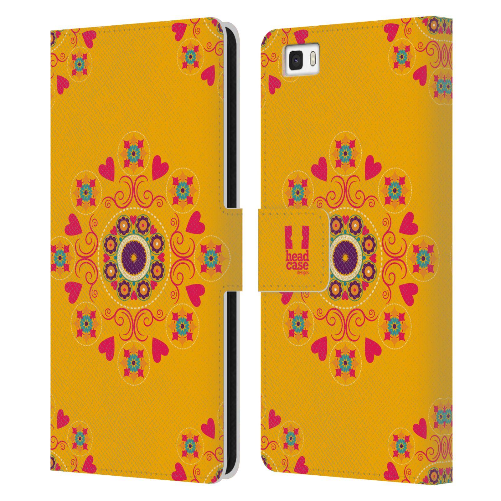 HEAD CASE Flipové pouzdro pro mobil Huawei P8 LITE Slovanský vzor květiny a srdíčka žlutá