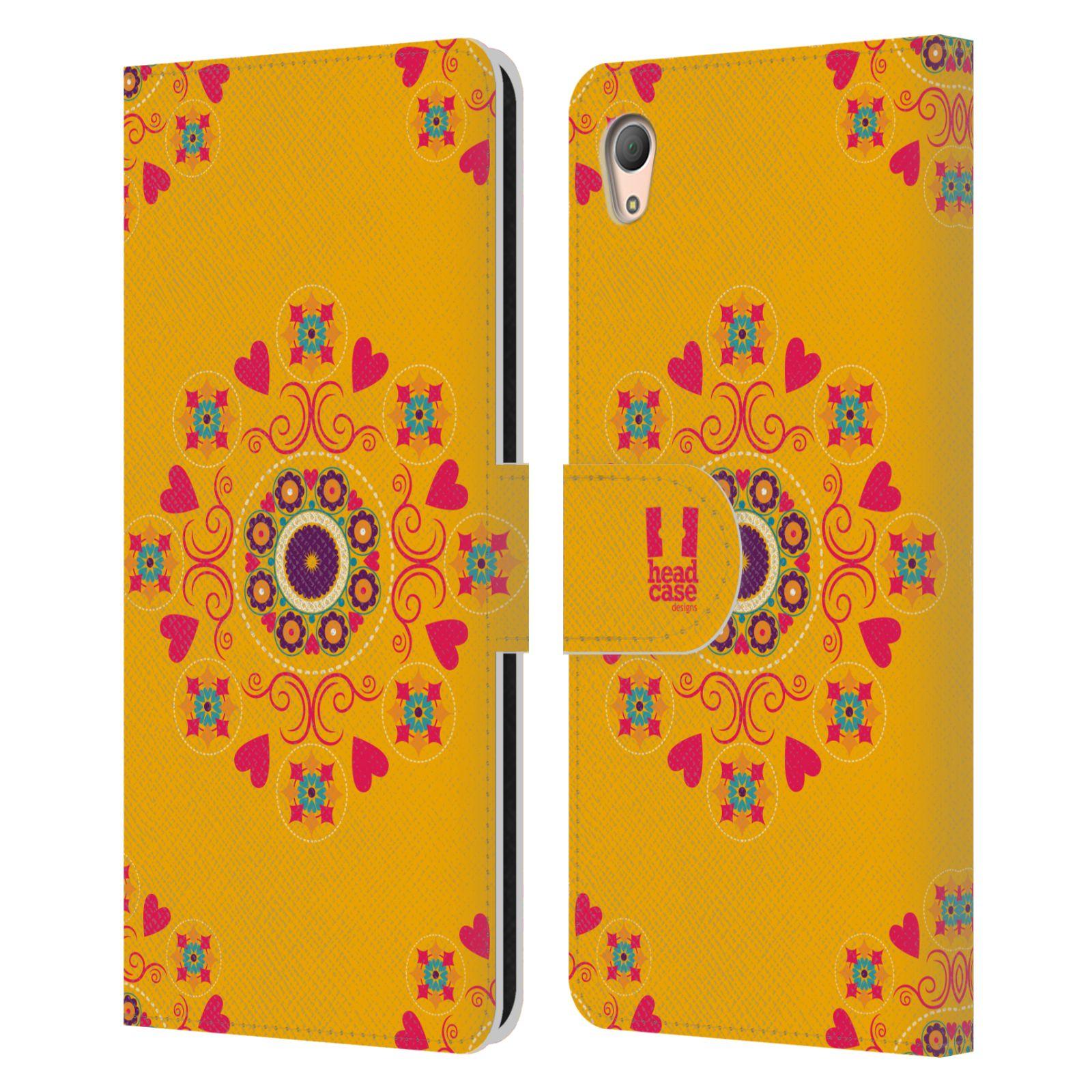 HEAD CASE Flipové pouzdro pro mobil SONY XPERIA Z3+ (PLUS) Slovanský vzor květiny a srdíčka žlutá