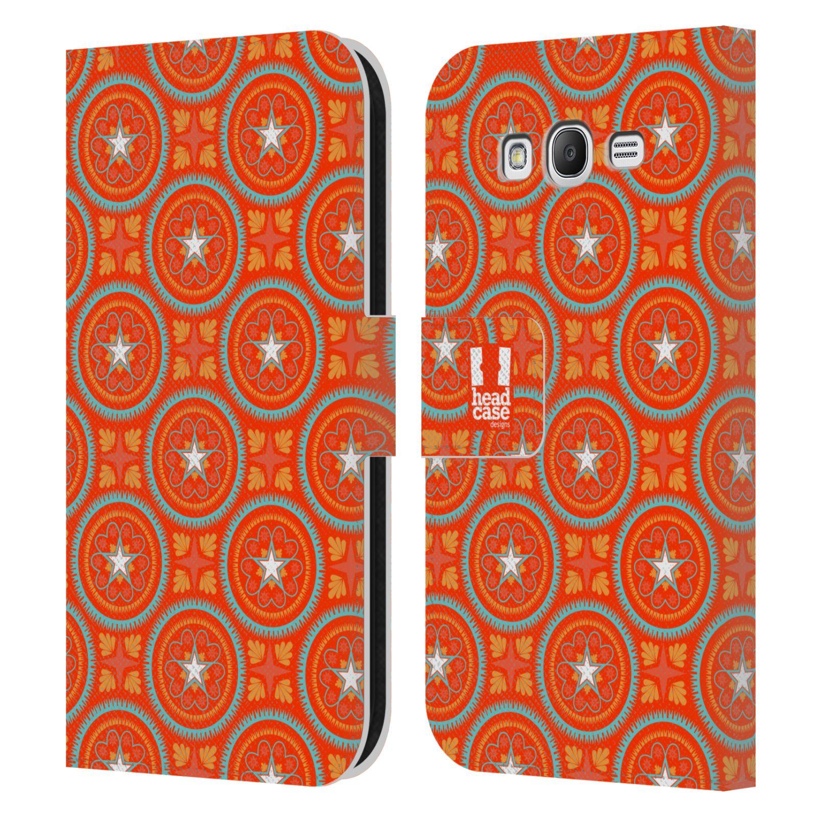 HEAD CASE Flipové pouzdro pro mobil Samsung Galaxy Grand i9080 Slovanský vzor oranžová hvězda