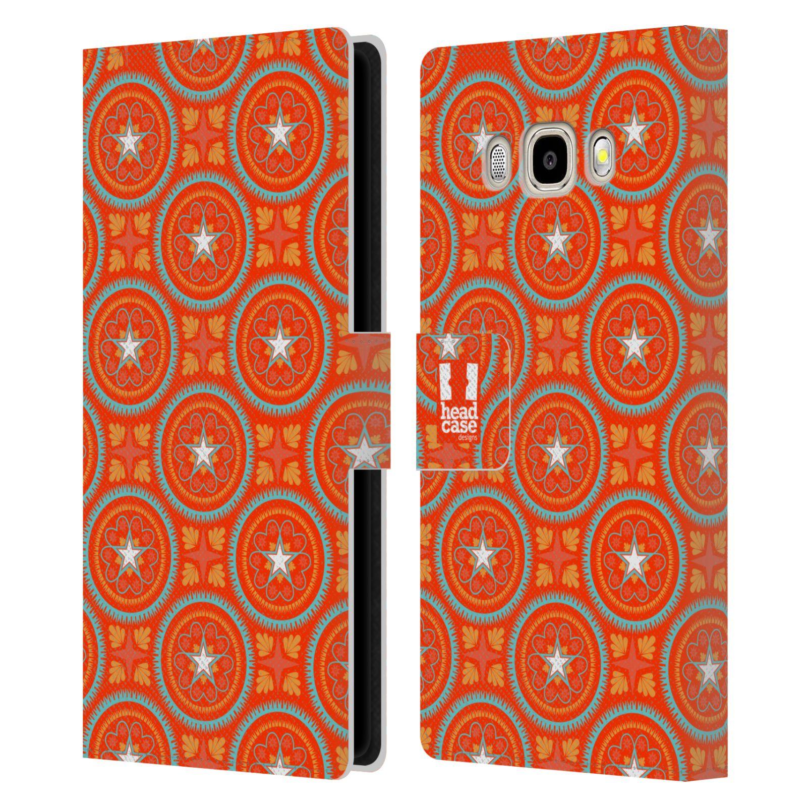 HEAD CASE Flipové pouzdro pro mobil Samsung Galaxy J5 2016 Slovanský vzor oranžová hvězda