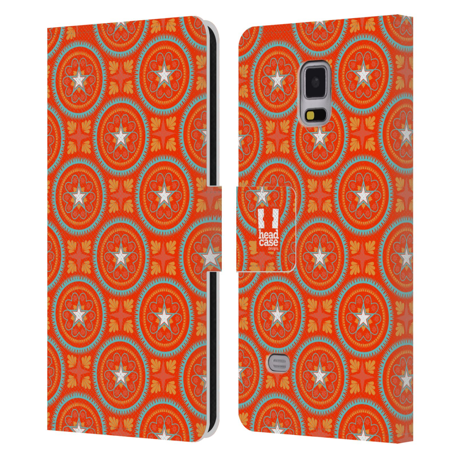 HEAD CASE Flipové pouzdro pro mobil Samsung Galaxy Note 4 Slovanský vzor oranžová hvězda