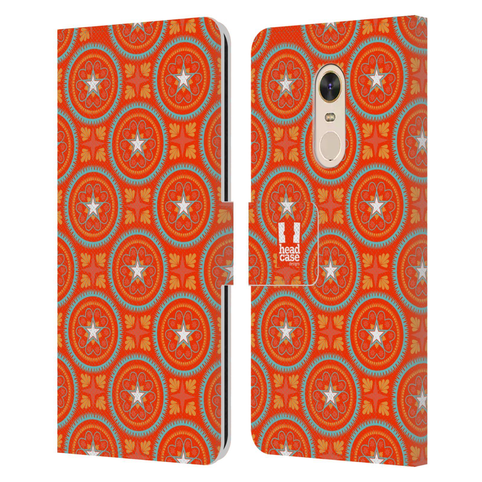 HEAD CASE Flipové pouzdro pro mobil Xiaomi Redmi 5 PLUS Slovanský vzor oranžová hvězda