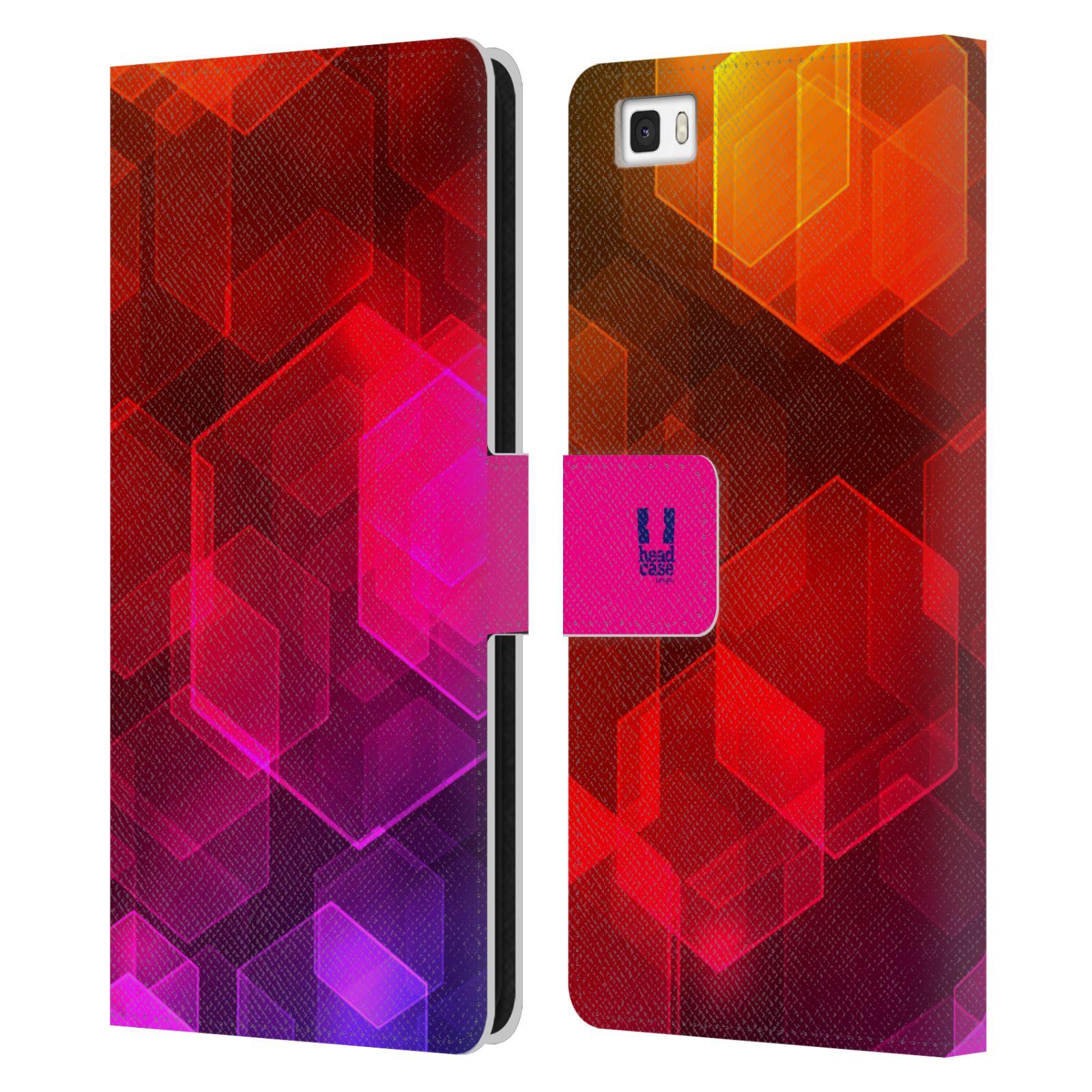 HEAD CASE Flipové pouzdro pro mobil Huawei P8 LITE BOKEH zářící vzor hexagon růžová