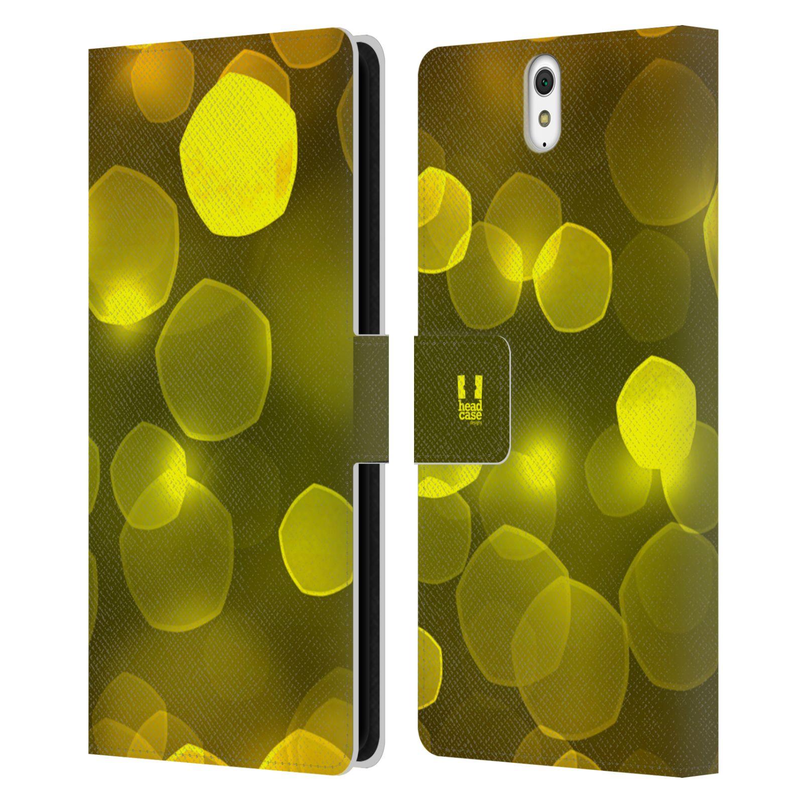 HEAD CASE Flipové pouzdro pro mobil SONY XPERIA C5 Ultra BOKEH zářící vzor pentagon žlutá