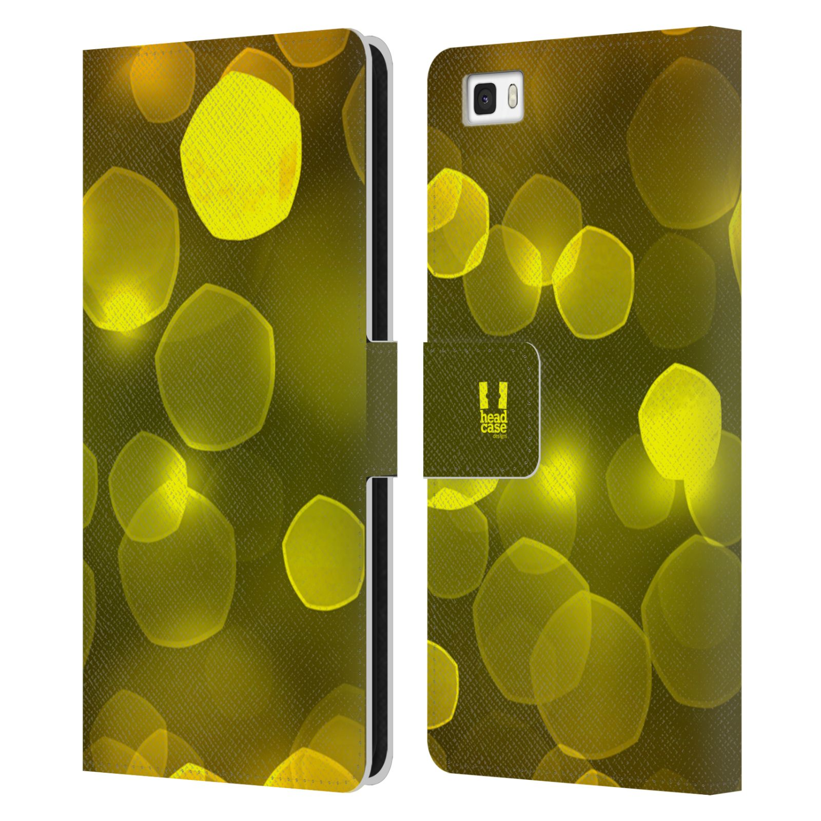 HEAD CASE Flipové pouzdro pro mobil Huawei P8 LITE BOKEH zářící vzor pentagon žlutá