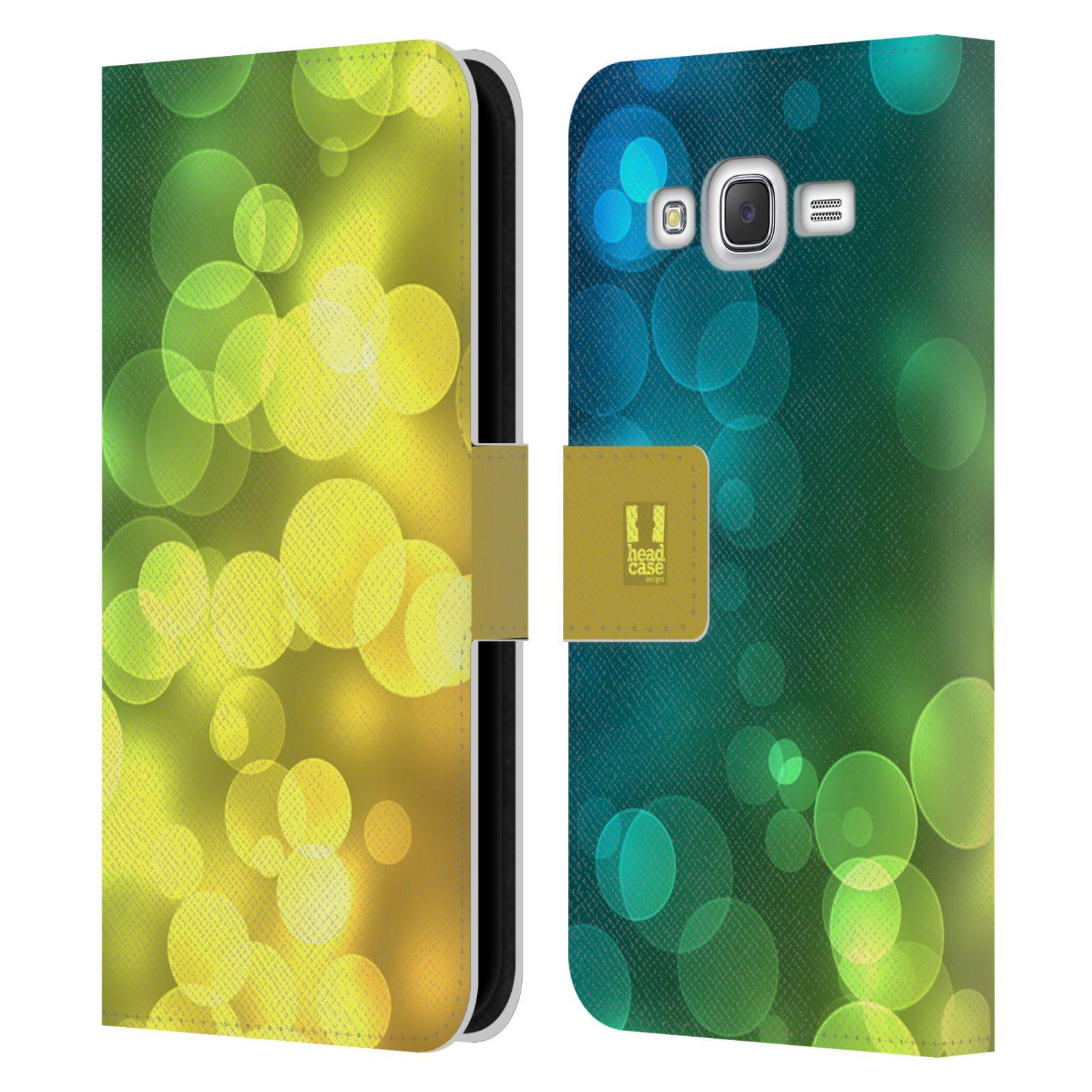 HEAD CASE Flipové pouzdro pro mobil Samsung Galaxy J5 (J500) / J5 DUOS BOKEH zářící vzor kruhy modrá a žlutá