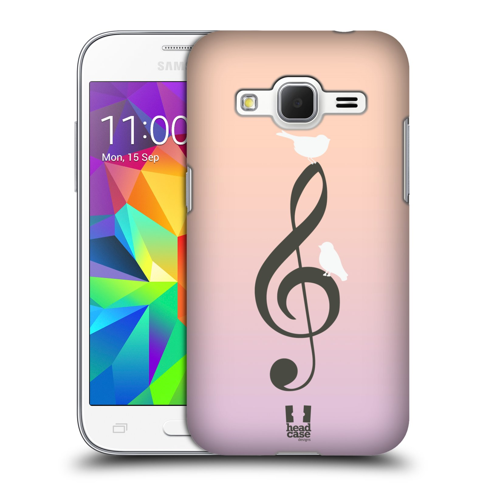 HEAD CASE plastový obal na mobil SAMSUNG GALAXY Core Prime (Core Prime VE) vzor Ptáček zpěváček noty nota