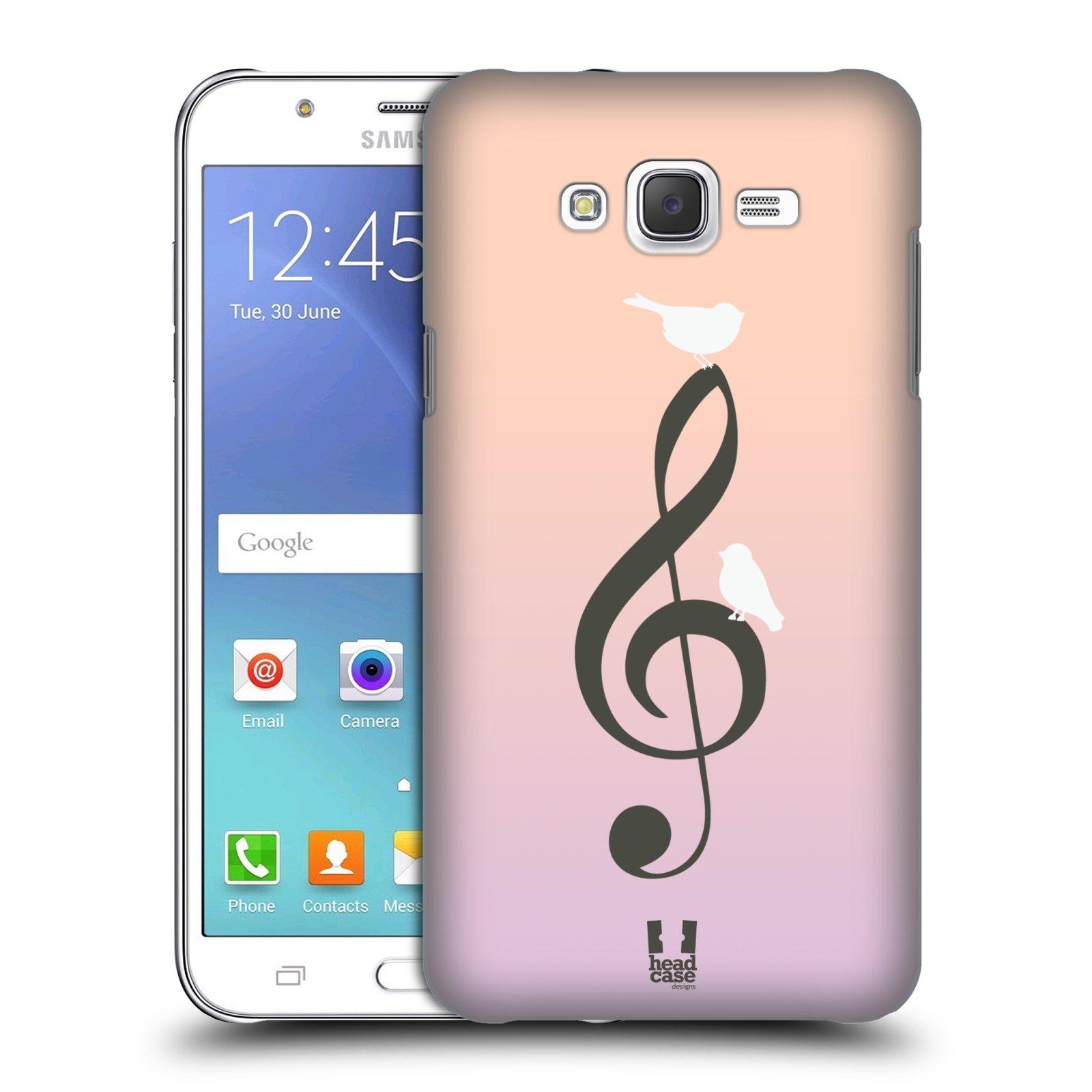 HEAD CASE plastový obal na mobil SAMSUNG Galaxy J7, J700 vzor Ptáček zpěváček noty nota