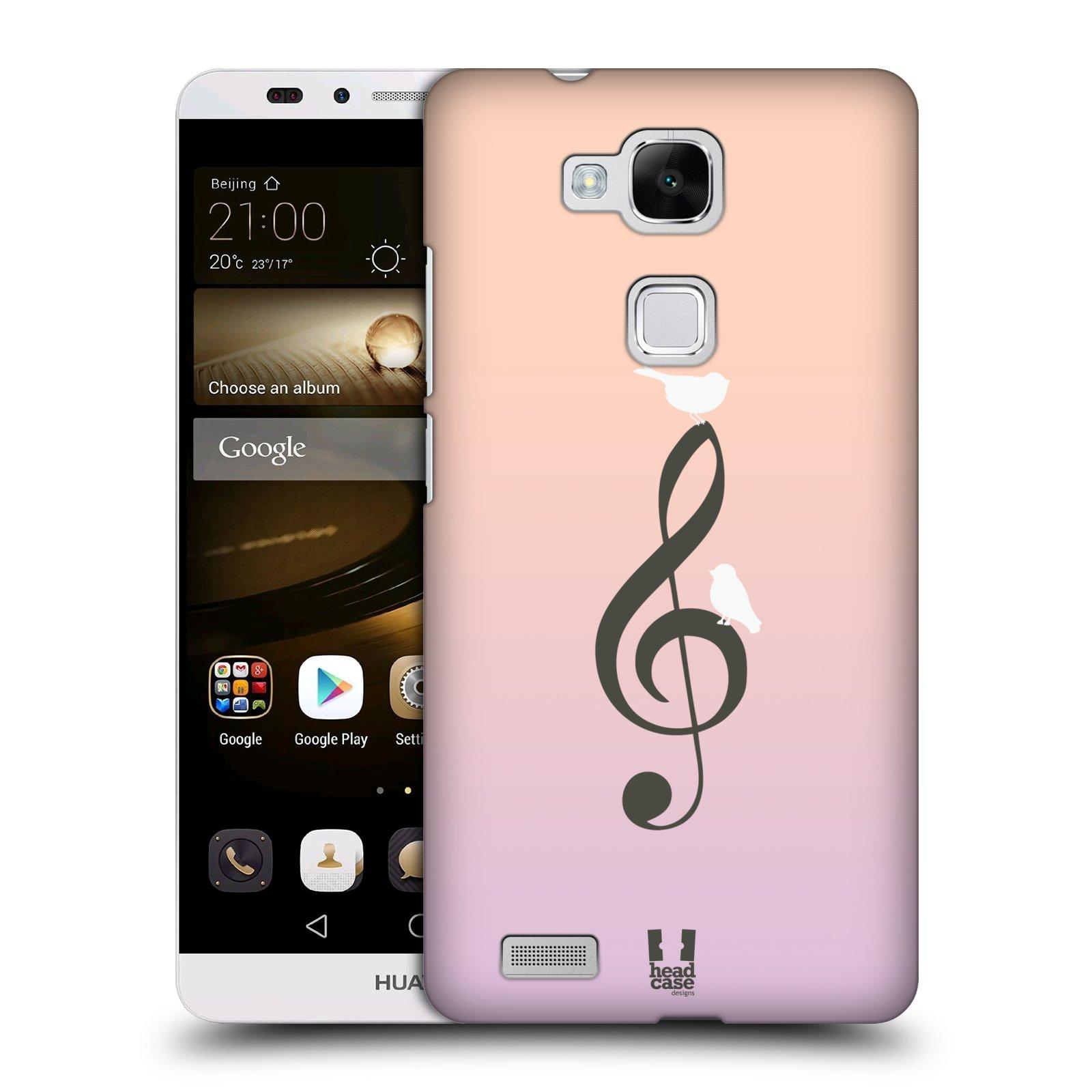 HEAD CASE plastový obal na mobil Huawei Mate 7 vzor Ptáček zpěváček noty nota