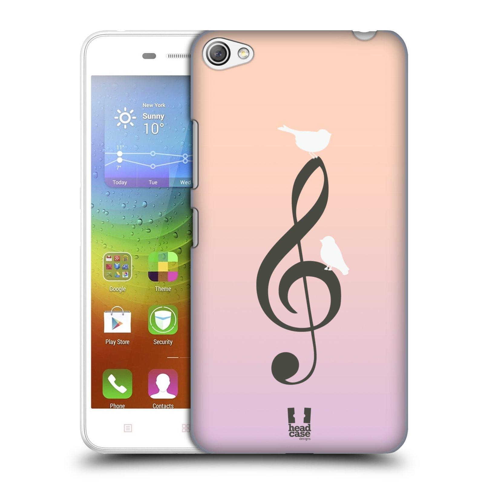 HEAD CASE pevný plastový obal na mobil LENOVO S60 / LENOVO S60 DUAL SIM vzor Ptáček zpěváček noty nota