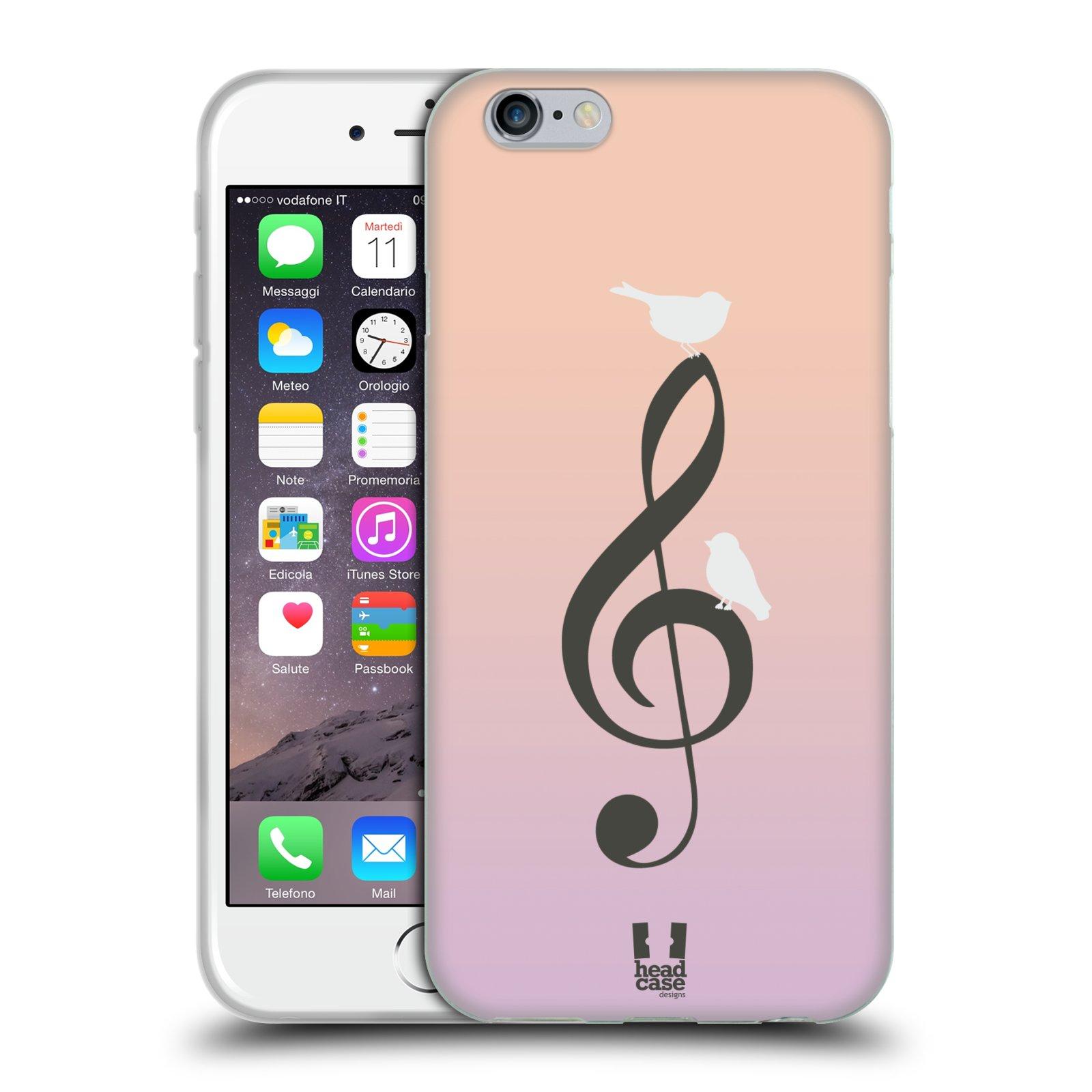 HEAD CASE silikonový obal na mobil Apple Iphone 6/6S vzor Ptáček zpěváček noty nota