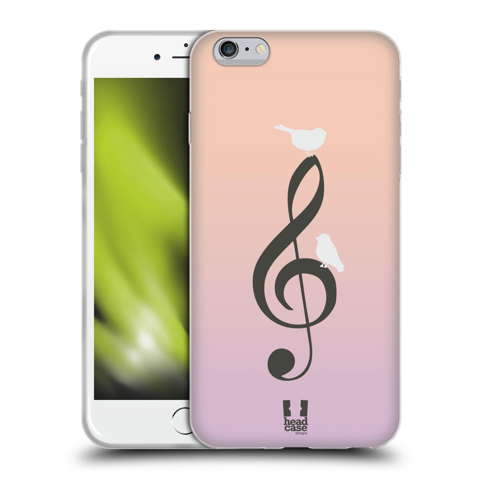 HEAD CASE silikonový obal na mobil Apple Iphone 6 PLUS/ 6S PLUS vzor Ptáček zpěváček noty nota