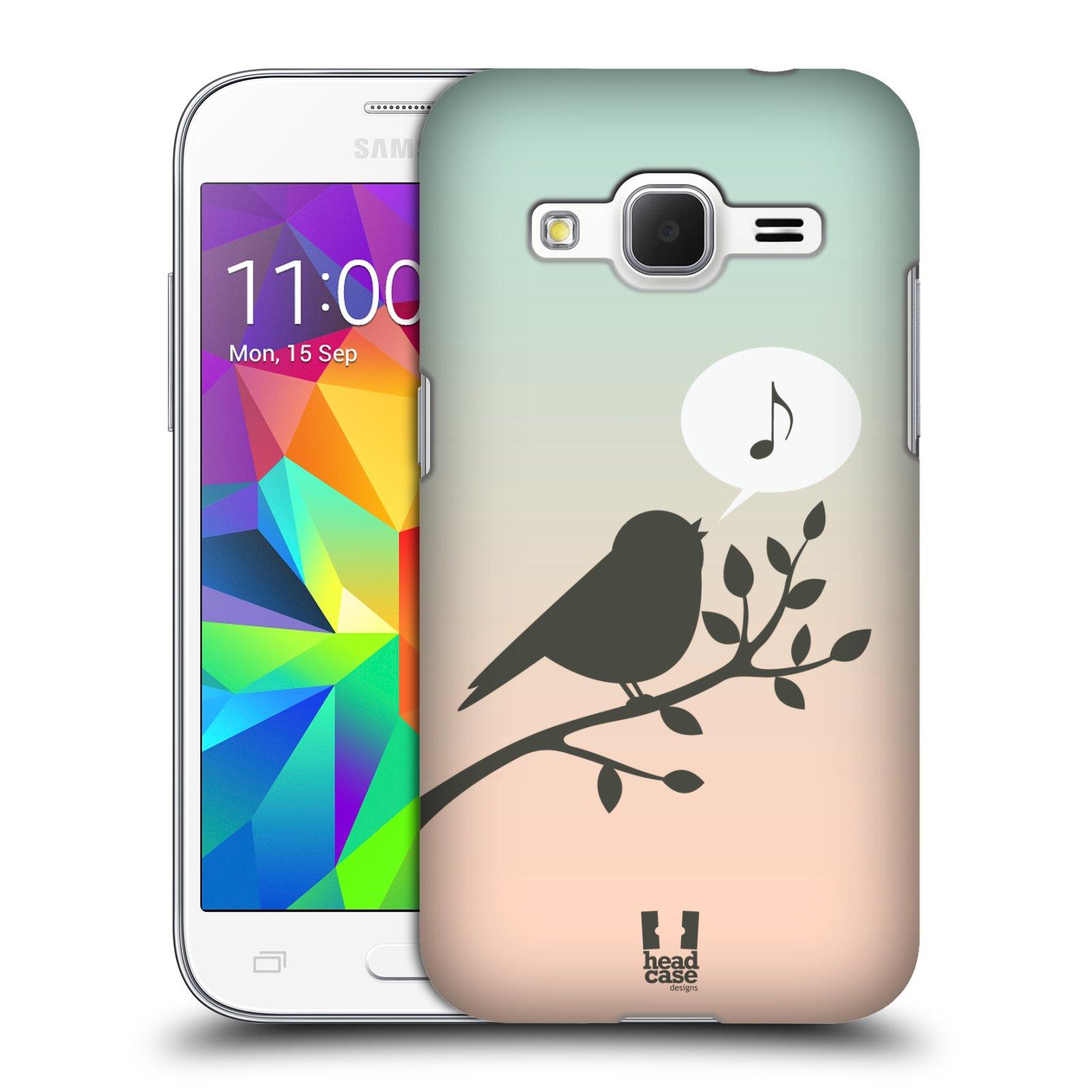 HEAD CASE plastový obal na mobil SAMSUNG GALAXY Core Prime (Core Prime VE) vzor Ptáček zpěváček noty píseň