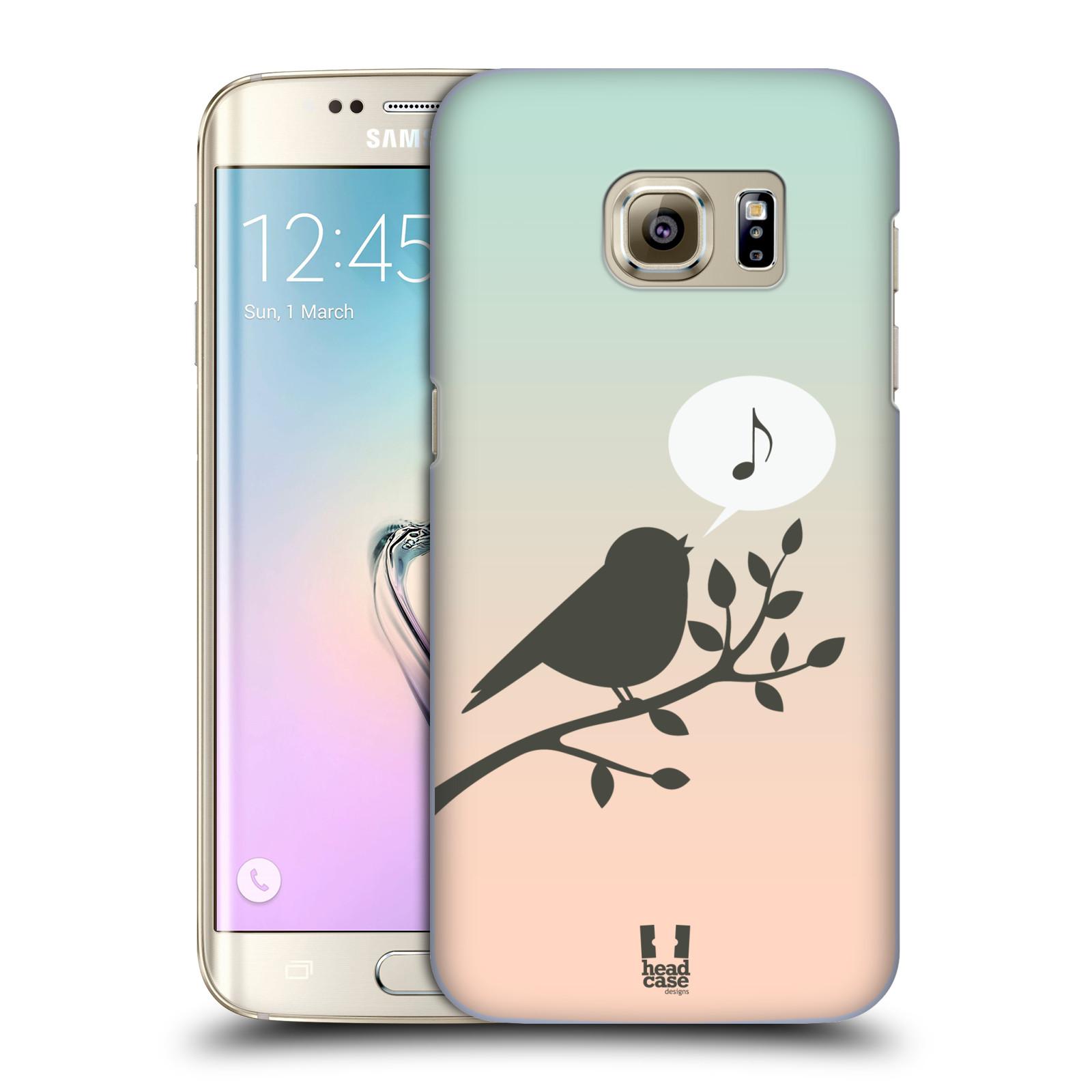 HEAD CASE plastový obal na mobil SAMSUNG GALAXY S7 EDGE vzor Ptáček zpěváček noty píseň