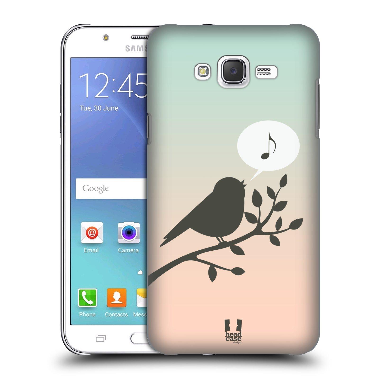 HEAD CASE plastový obal na mobil SAMSUNG Galaxy J7, J700 vzor Ptáček zpěváček noty píseň