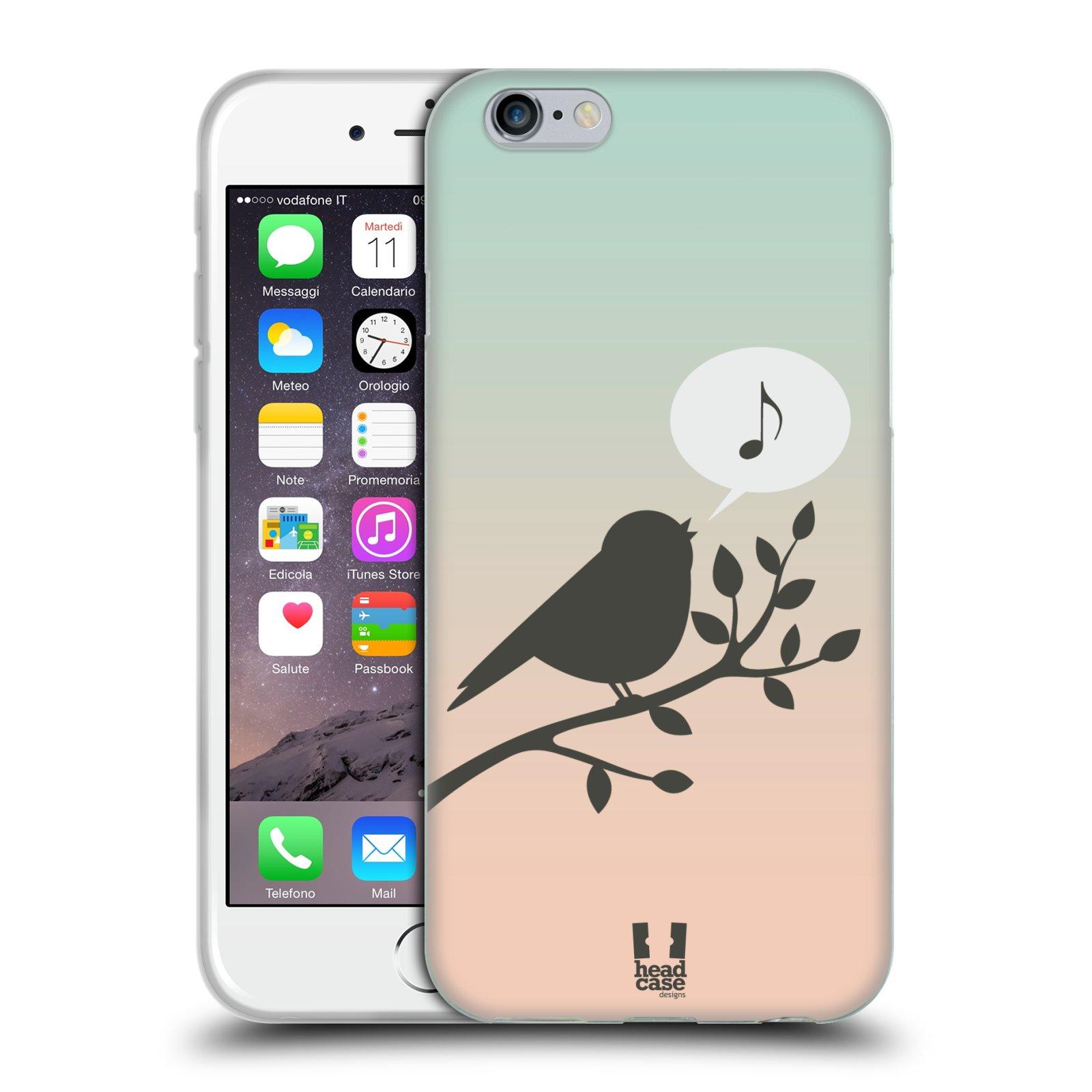 HEAD CASE silikonový obal na mobil Apple Iphone 6/6S vzor Ptáček zpěváček noty píseň
