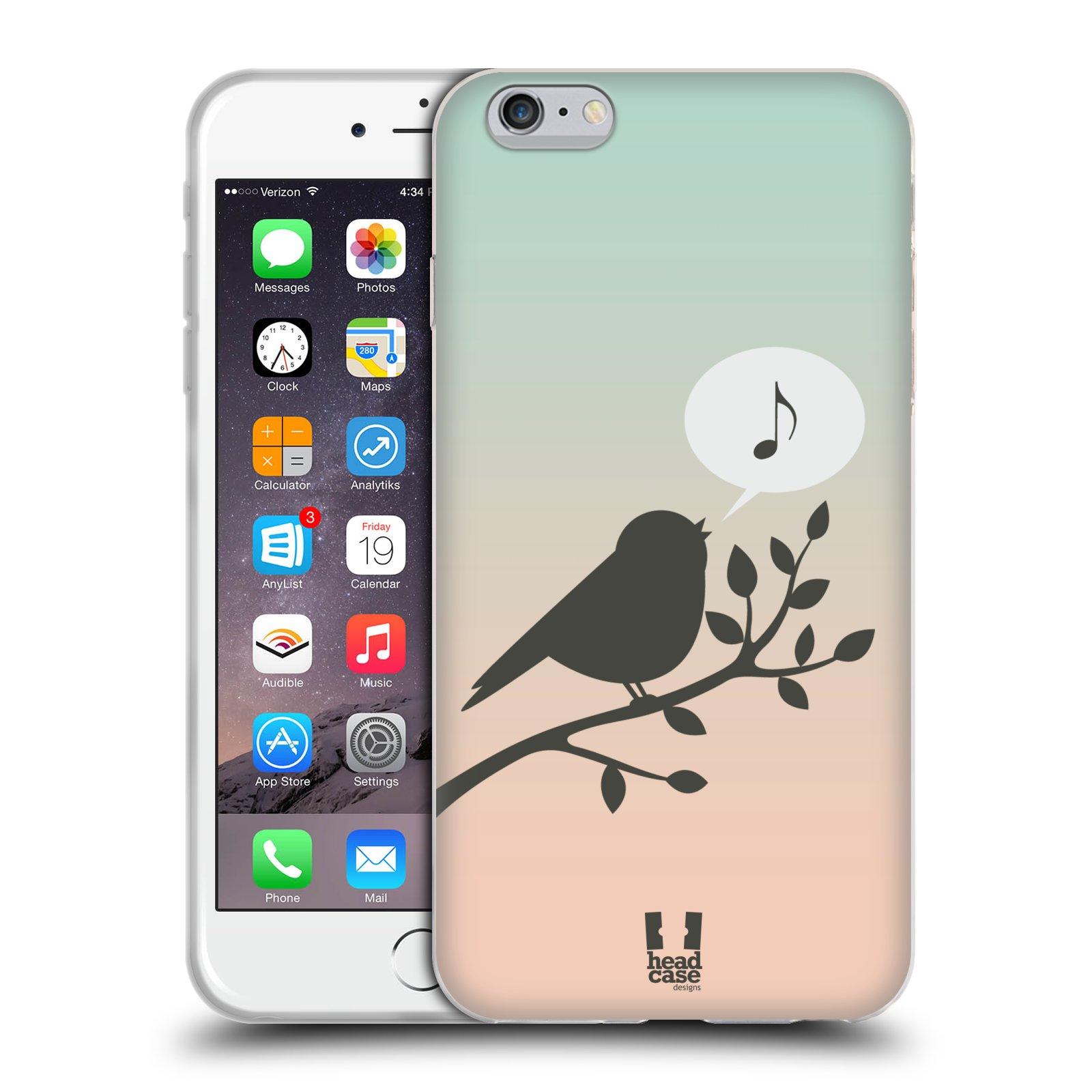 HEAD CASE silikonový obal na mobil Apple Iphone 6 PLUS/ 6S PLUS vzor Ptáček zpěváček noty píseň