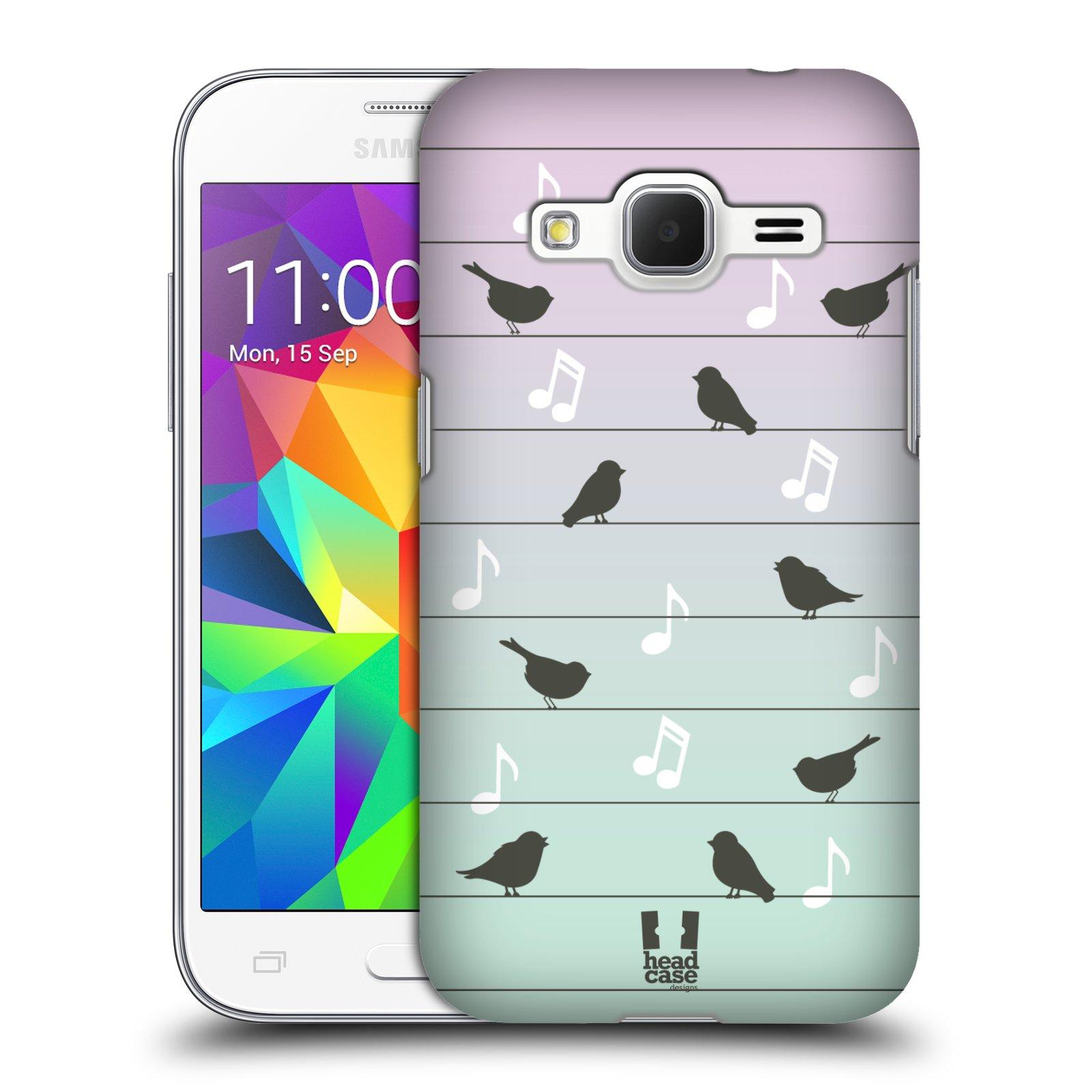 HEAD CASE plastový obal na mobil SAMSUNG GALAXY Core Prime (Core Prime VE) vzor Ptáček zpěváček noty na drátě