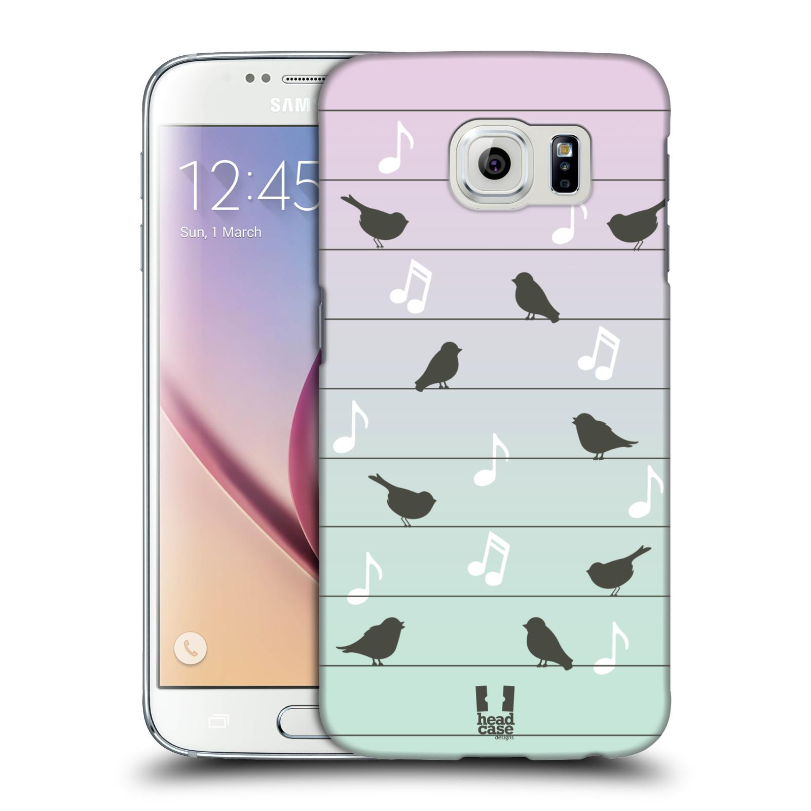 HEAD CASE plastový obal na mobil SAMSUNG Galaxy S6 (G9200, G920F) vzor Ptáček zpěváček noty na drátě