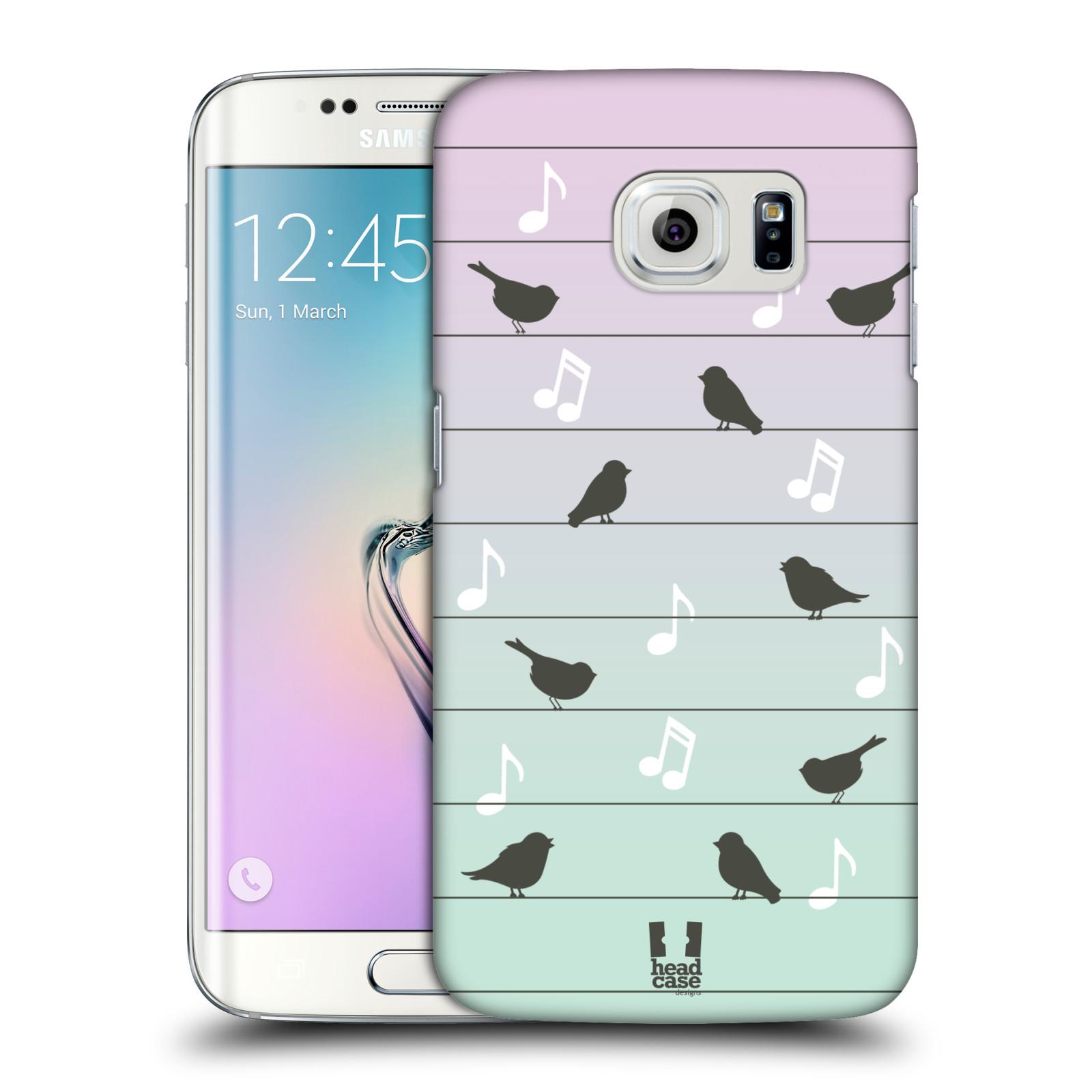 HEAD CASE plastový obal na mobil SAMSUNG Galaxy S6 EDGE (G9250, G925, G925F) vzor Ptáček zpěváček noty na drátě