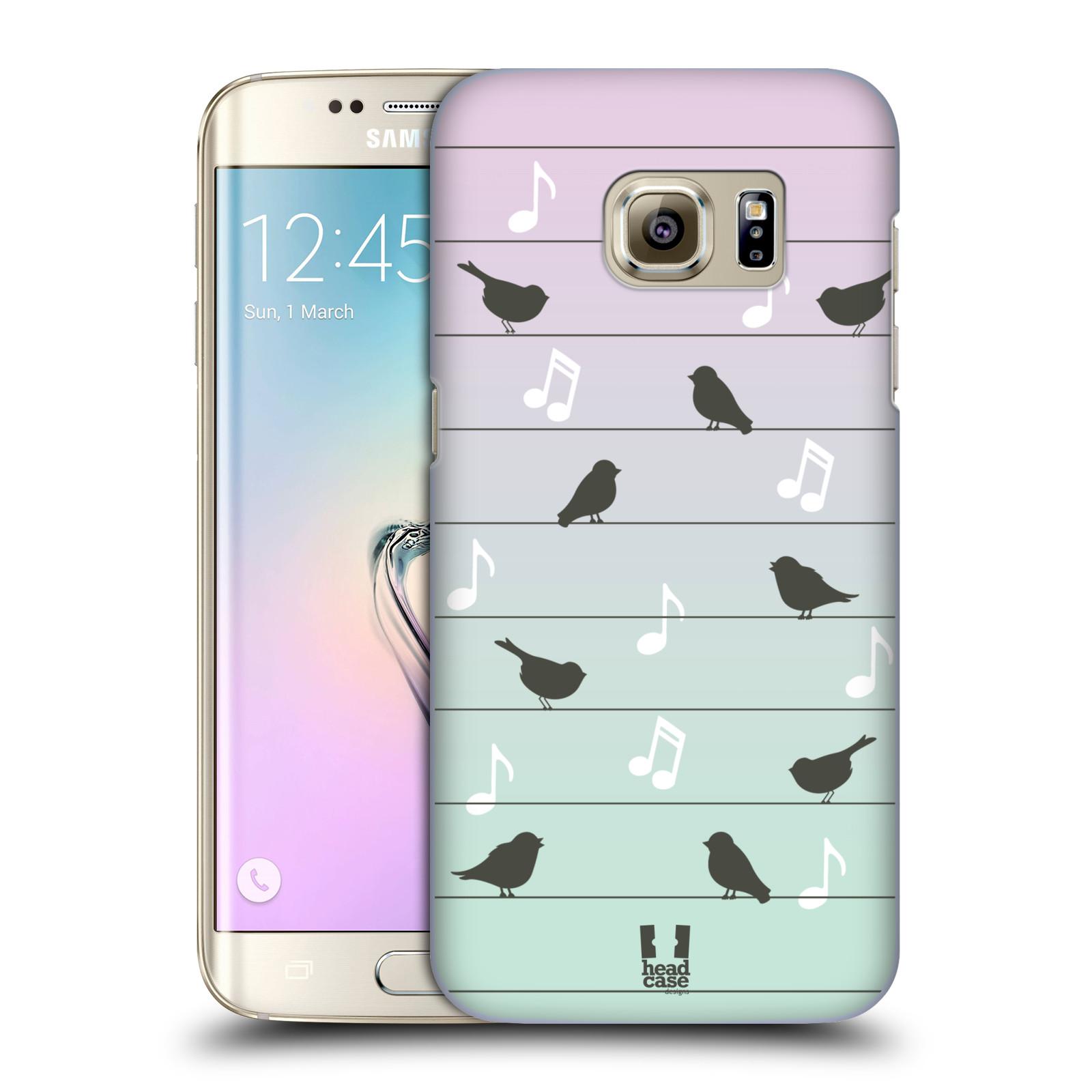 HEAD CASE plastový obal na mobil SAMSUNG GALAXY S7 EDGE vzor Ptáček zpěváček noty na drátě