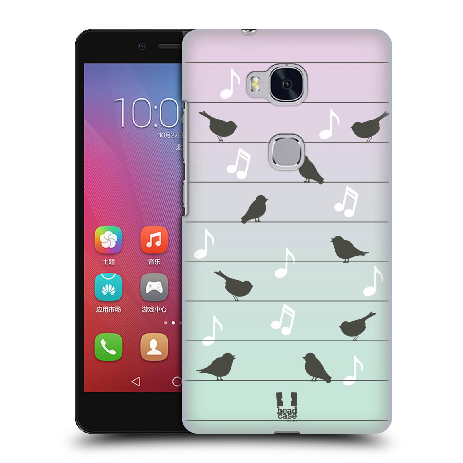 HEAD CASE pevný plastový obal na mobil HUAWEI HONOR 5X vzor Ptáček zpěváček noty na drátě