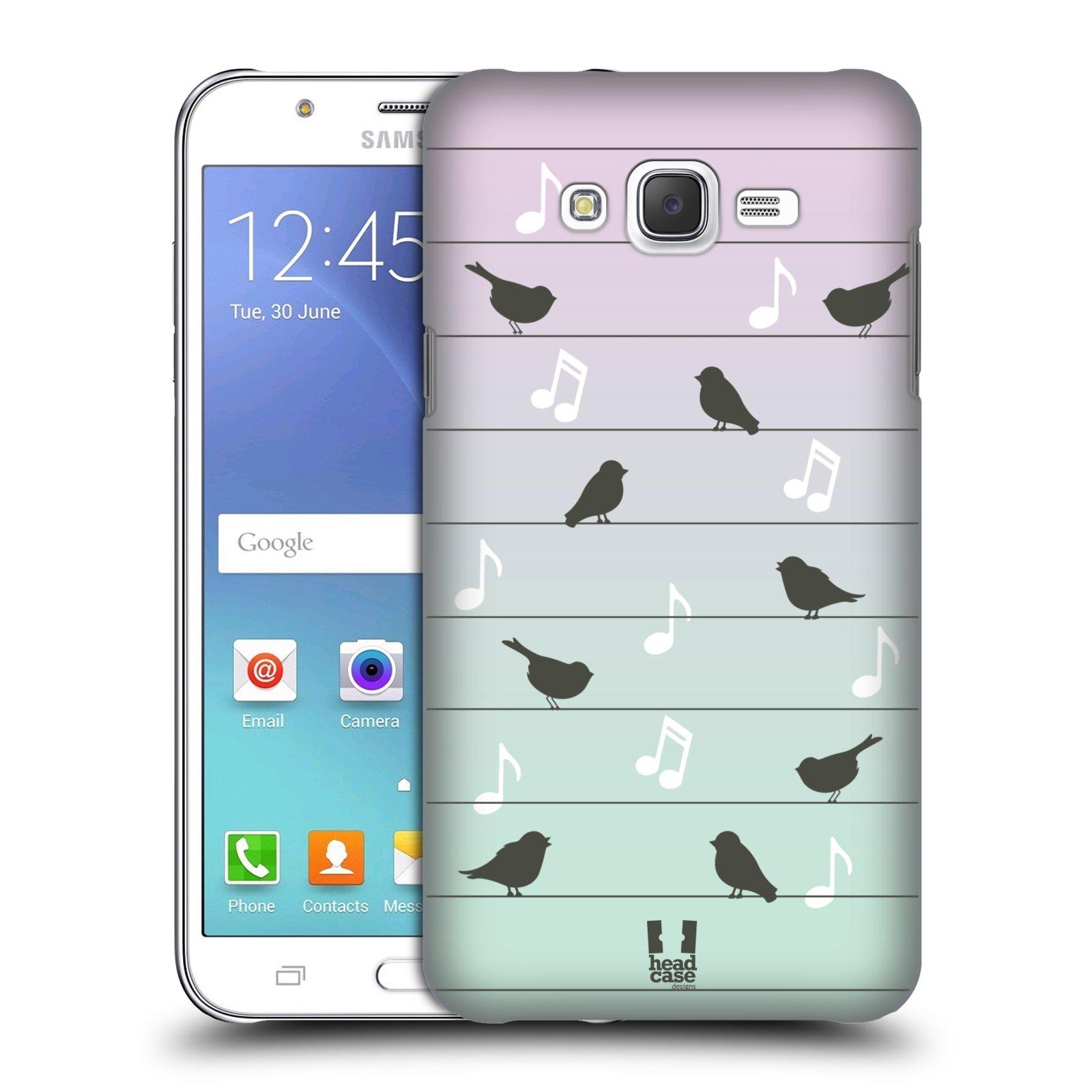 HEAD CASE plastový obal na mobil SAMSUNG Galaxy J7, J700 vzor Ptáček zpěváček noty na drátě