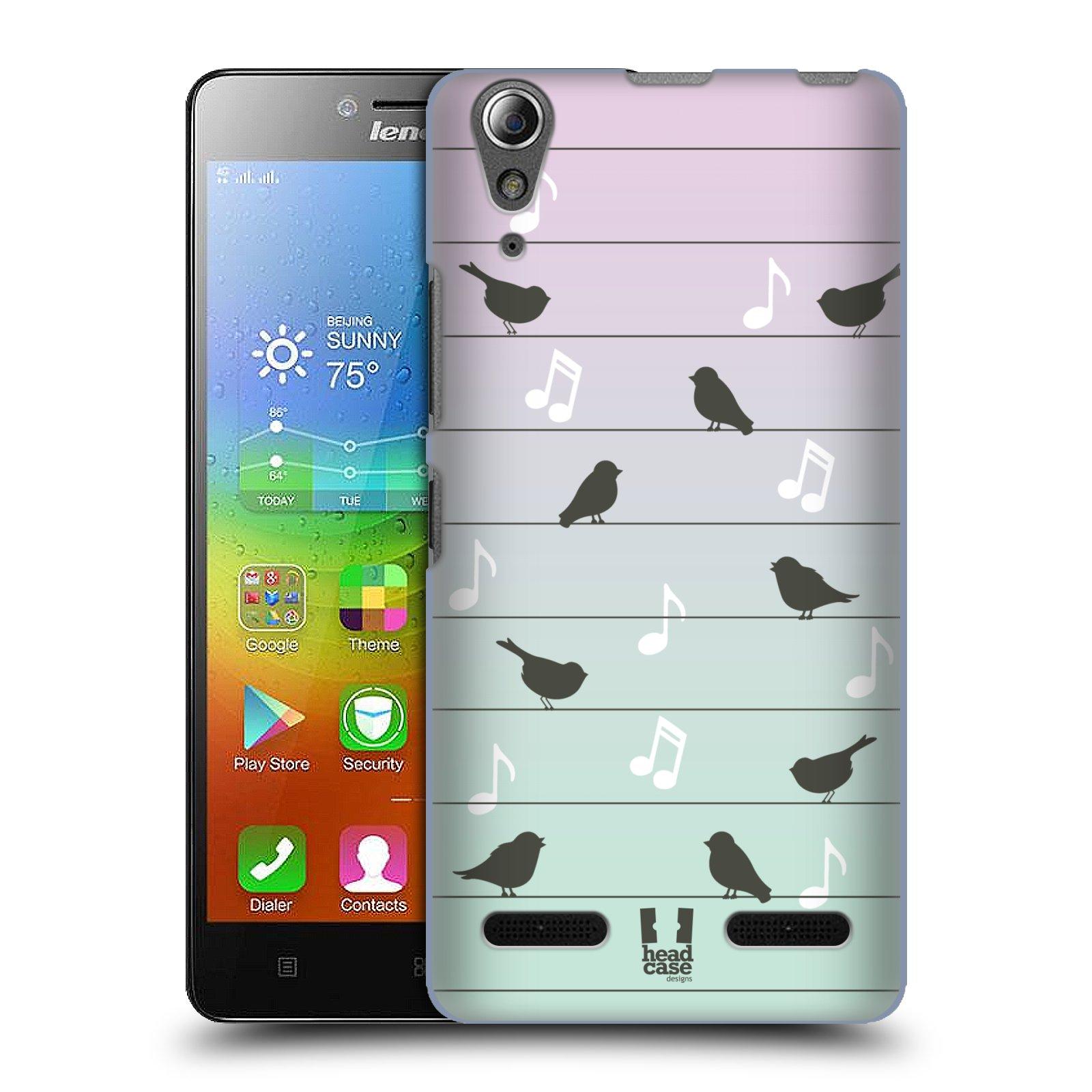 HEAD CASE pevný plastový obal na mobil LENOVO A6000 / A6000 PLUS vzor Ptáček zpěváček noty na drátě