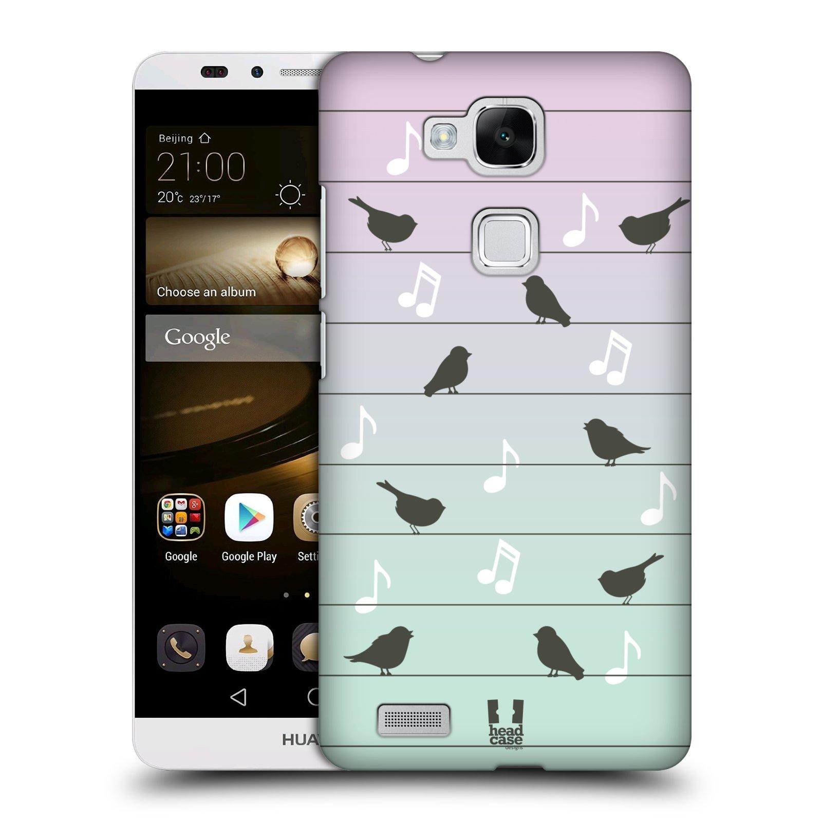 HEAD CASE plastový obal na mobil Huawei Mate 7 vzor Ptáček zpěváček noty na drátě