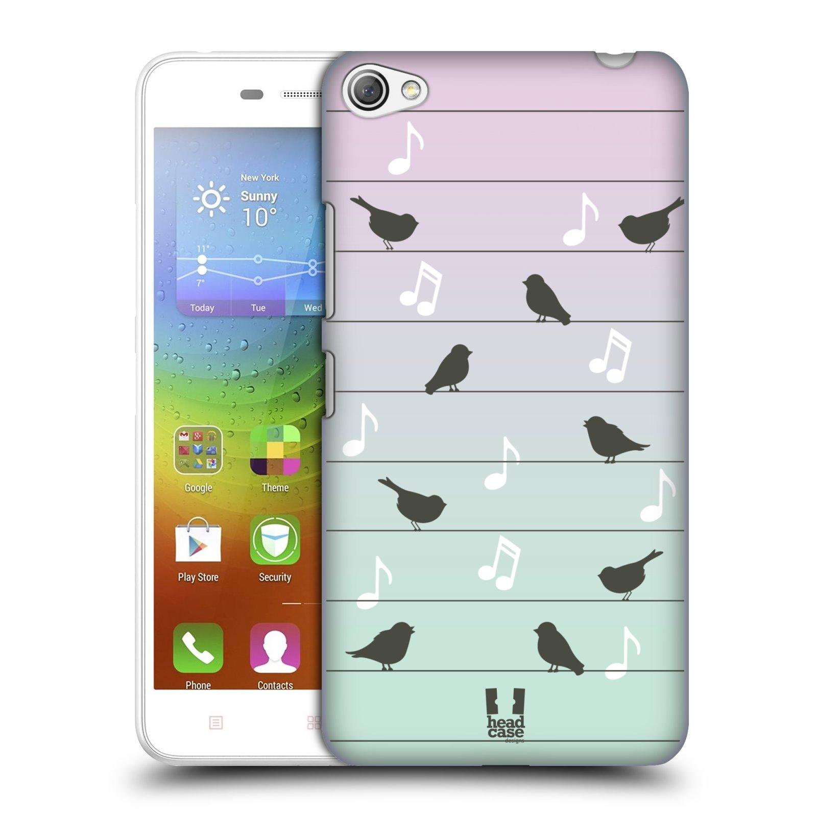 HEAD CASE pevný plastový obal na mobil LENOVO S60 / LENOVO S60 DUAL SIM vzor Ptáček zpěváček noty na drátě