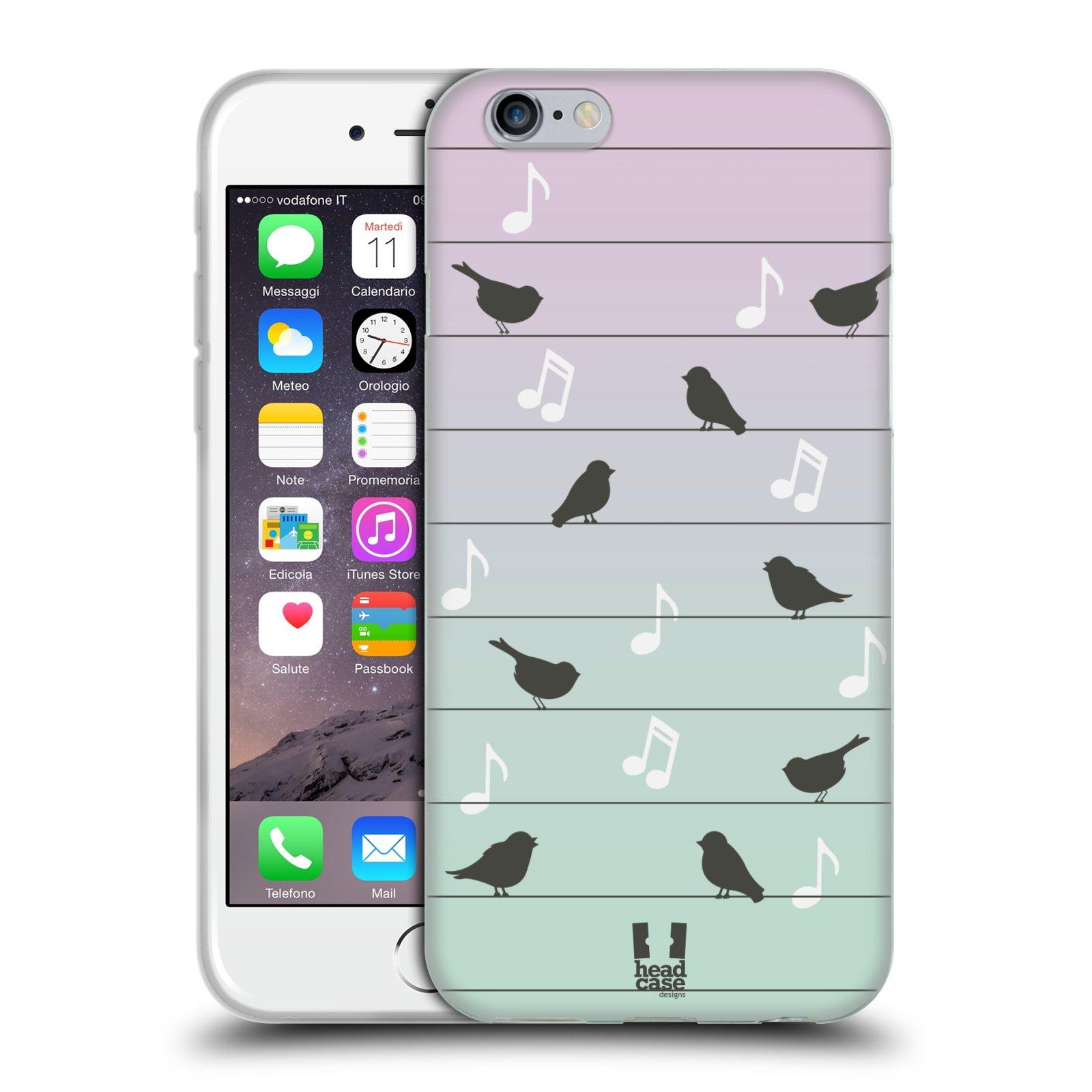 HEAD CASE silikonový obal na mobil Apple Iphone 6/6S vzor Ptáček zpěváček noty na drátě