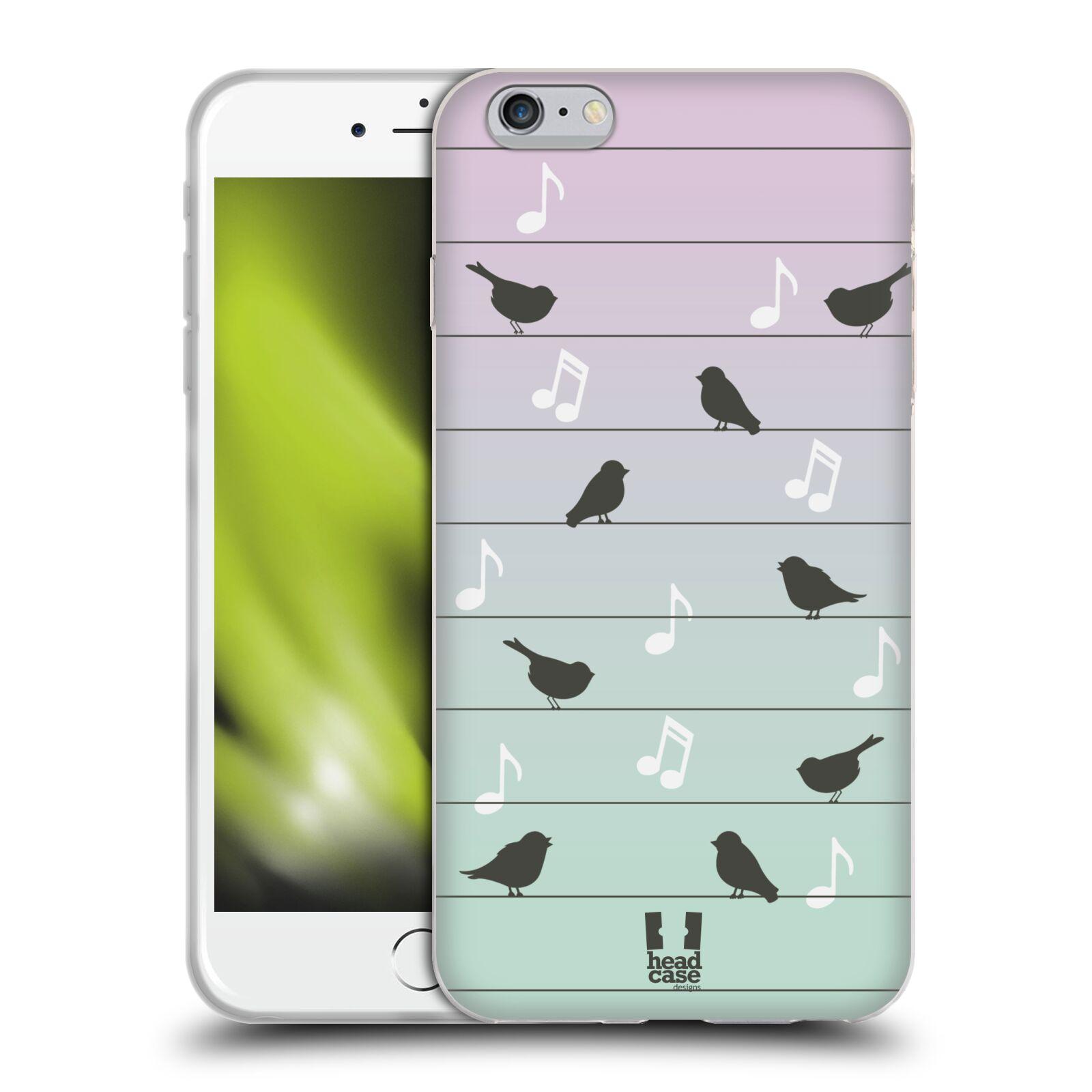 HEAD CASE silikonový obal na mobil Apple Iphone 6 PLUS/ 6S PLUS vzor Ptáček zpěváček noty na drátě