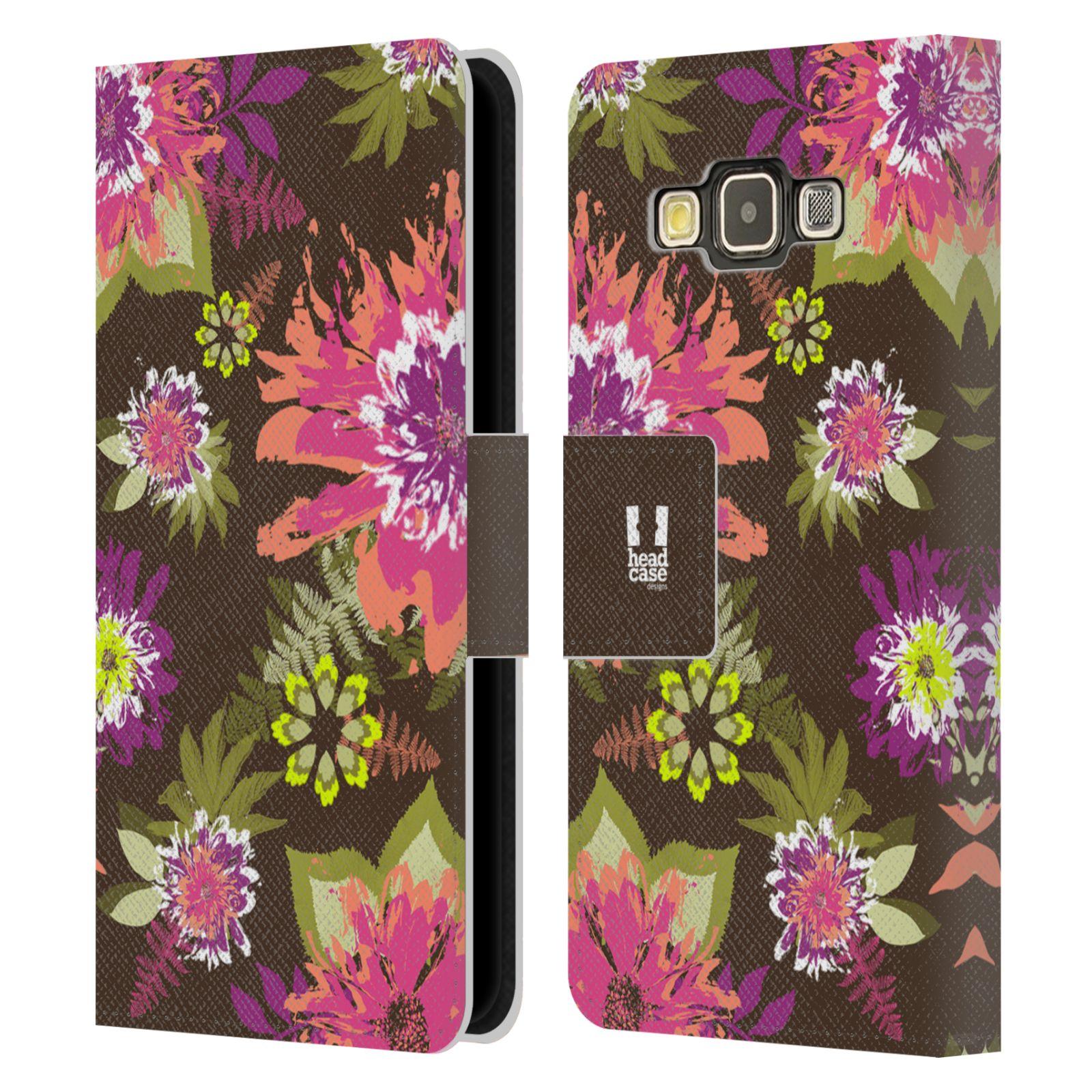 HEAD CASE Flipové pouzdro pro mobil Samsung Galaxy A3 BOTANIKA barevné květy zelená
