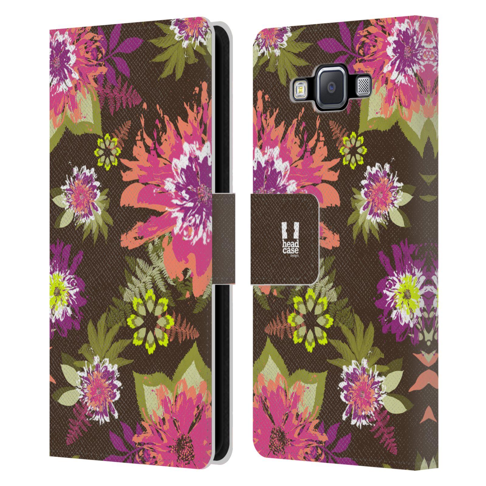 HEAD CASE Flipové pouzdro pro mobil Samsung Galaxy A5 BOTANIKA barevné květy zelená