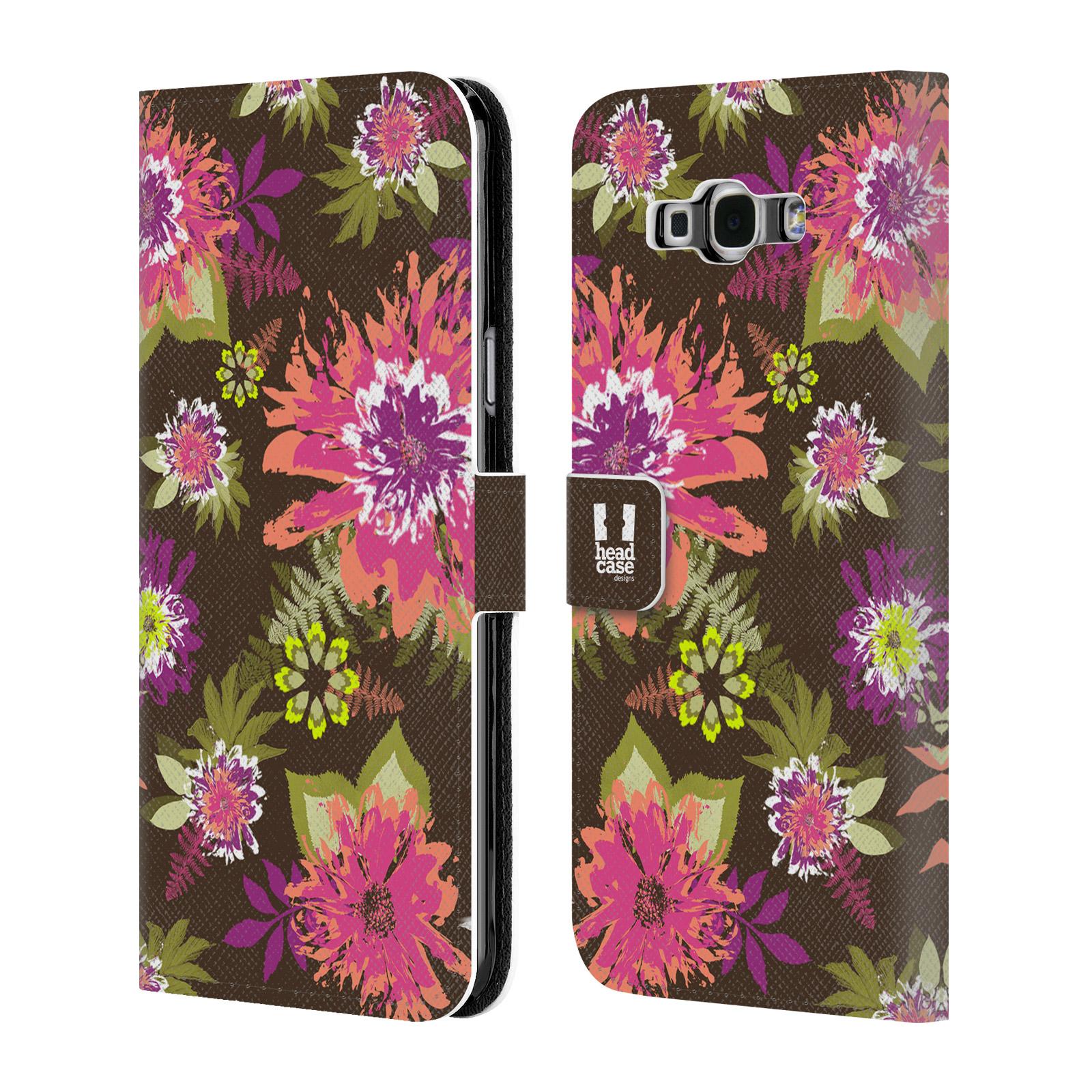 HEAD CASE Flipové pouzdro pro mobil Samsung Galaxy A8 BOTANIKA barevné květy zelená
