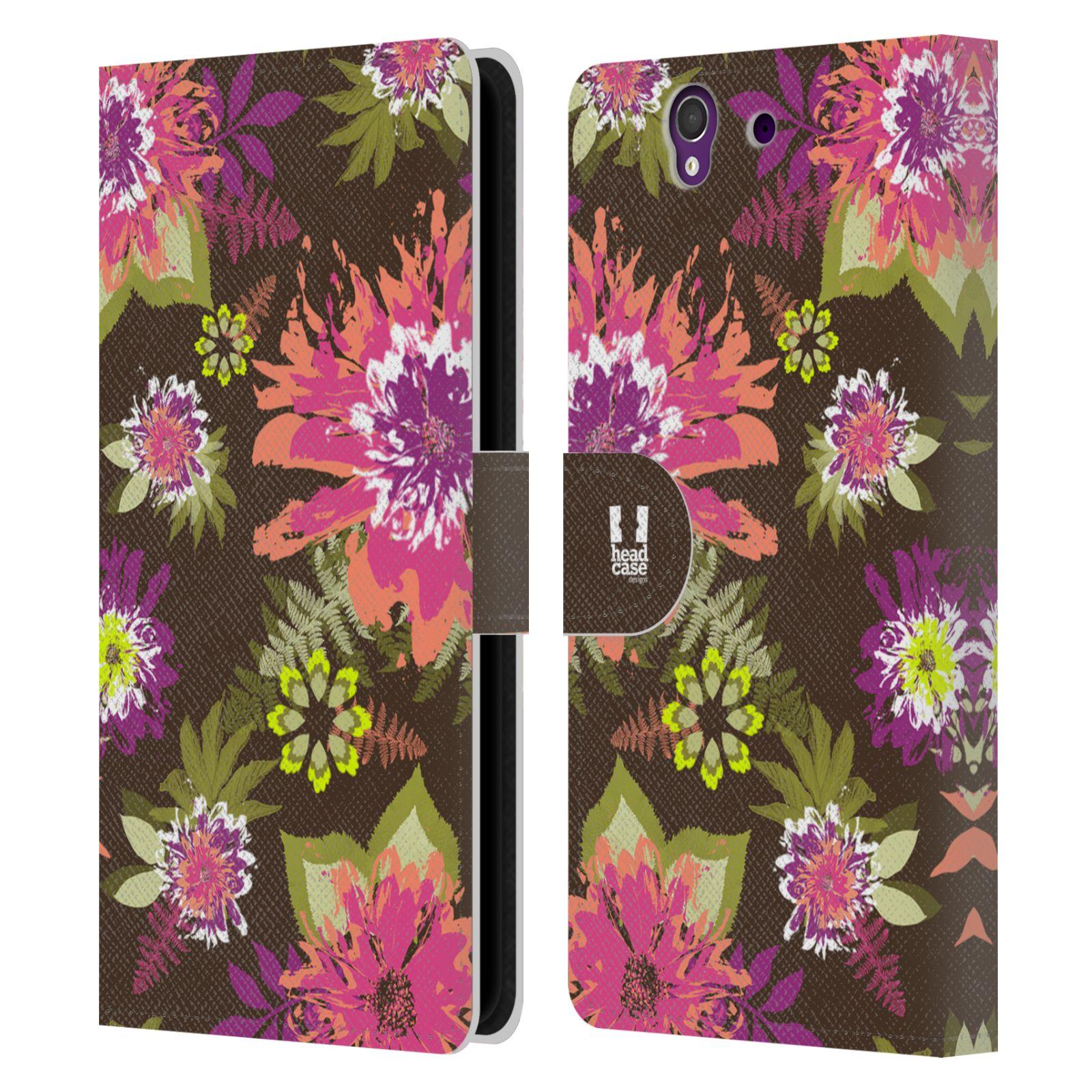 HEAD CASE Flipové pouzdro pro mobil SONY XPERIA Z (C6603) BOTANIKA barevné květy zelená